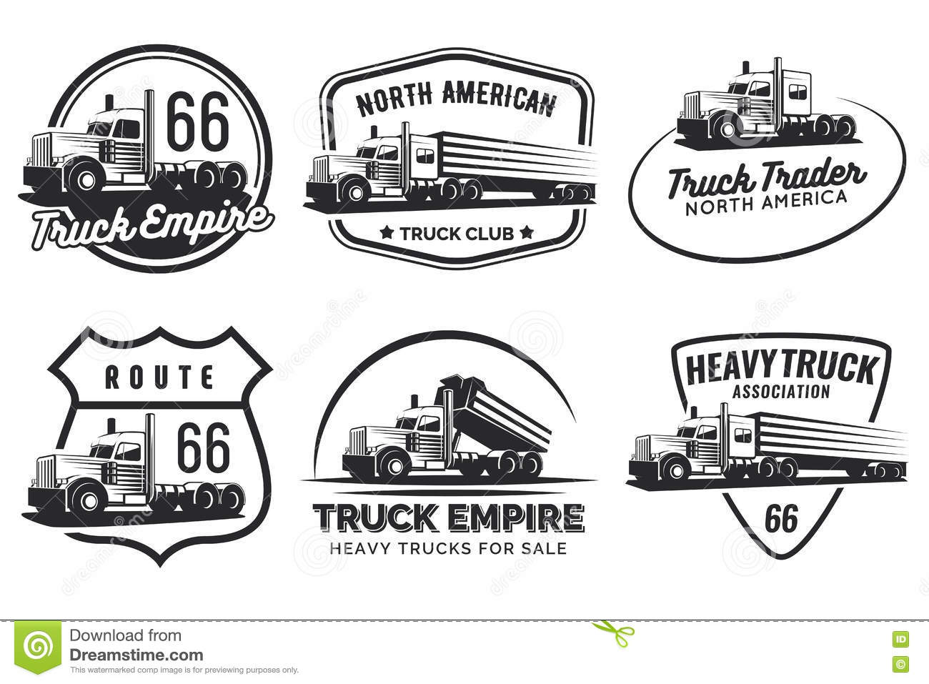 Set Of Classic Heavy Truck Logo Emblems And Badges
