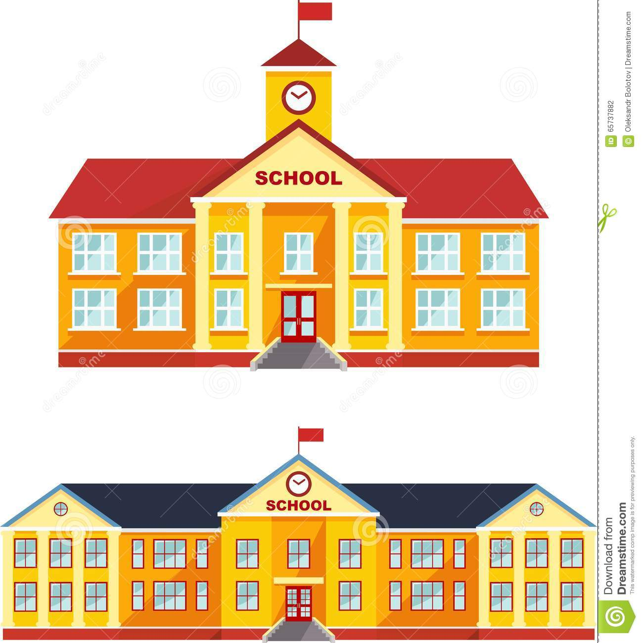 Set Of Classical School Building Isolated On White
