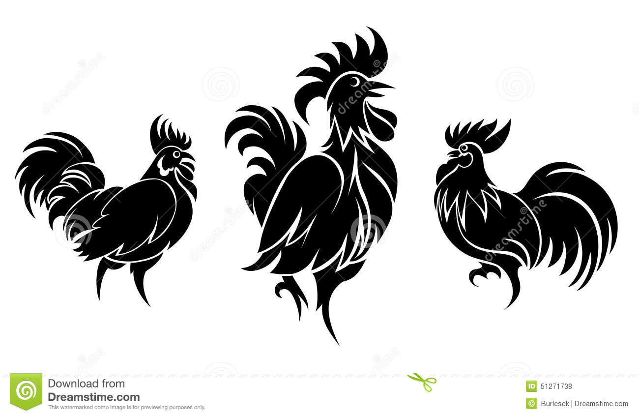 Black And White Rooster Tattoo