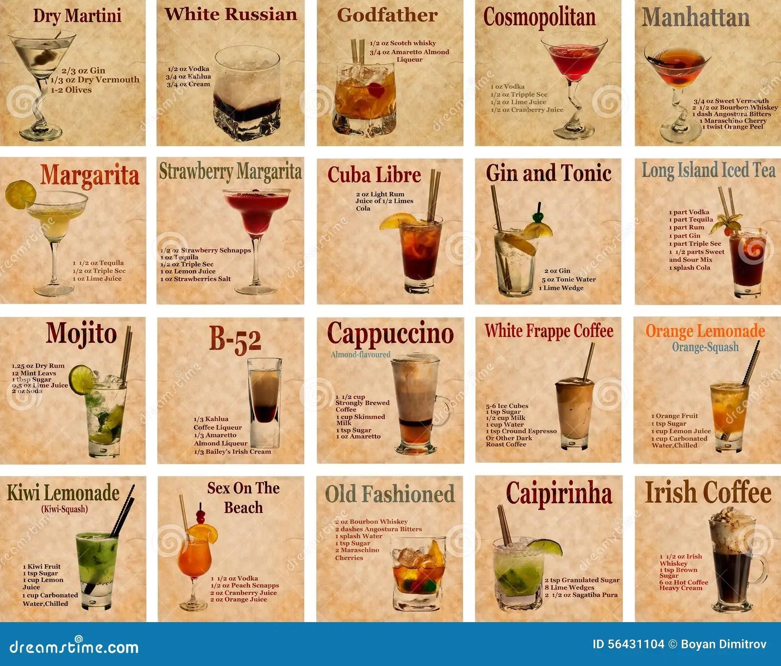 Set Of Cocktail Recipes Stock Photo Image Of Caipirinha
