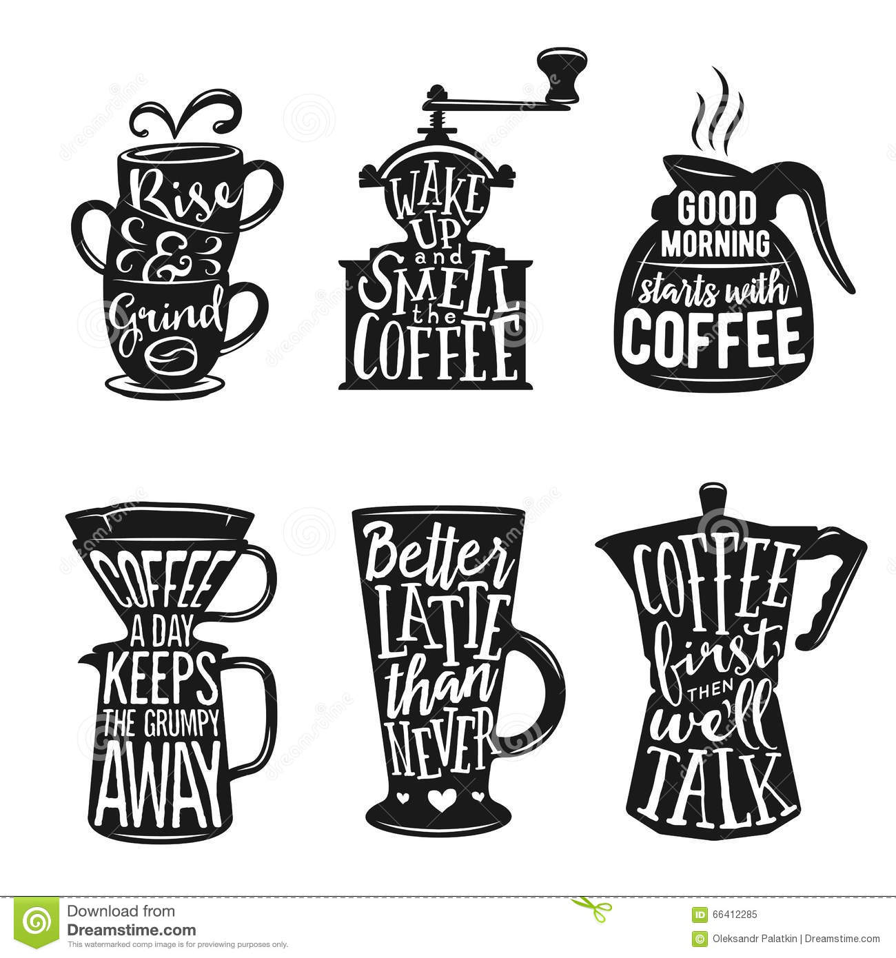 Set Of Coffee Related Typography Quotes About Coffee