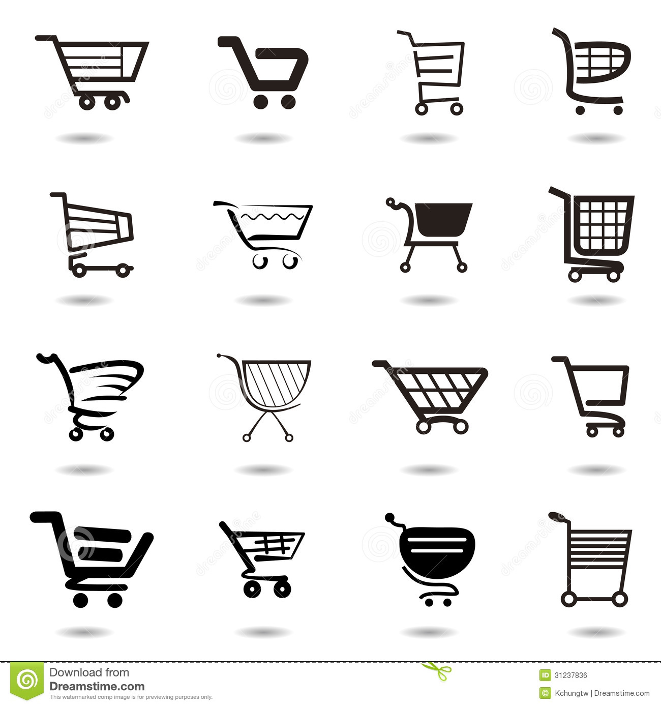 Set Collection Of Vector Shopping Cart Icons Stock Vector