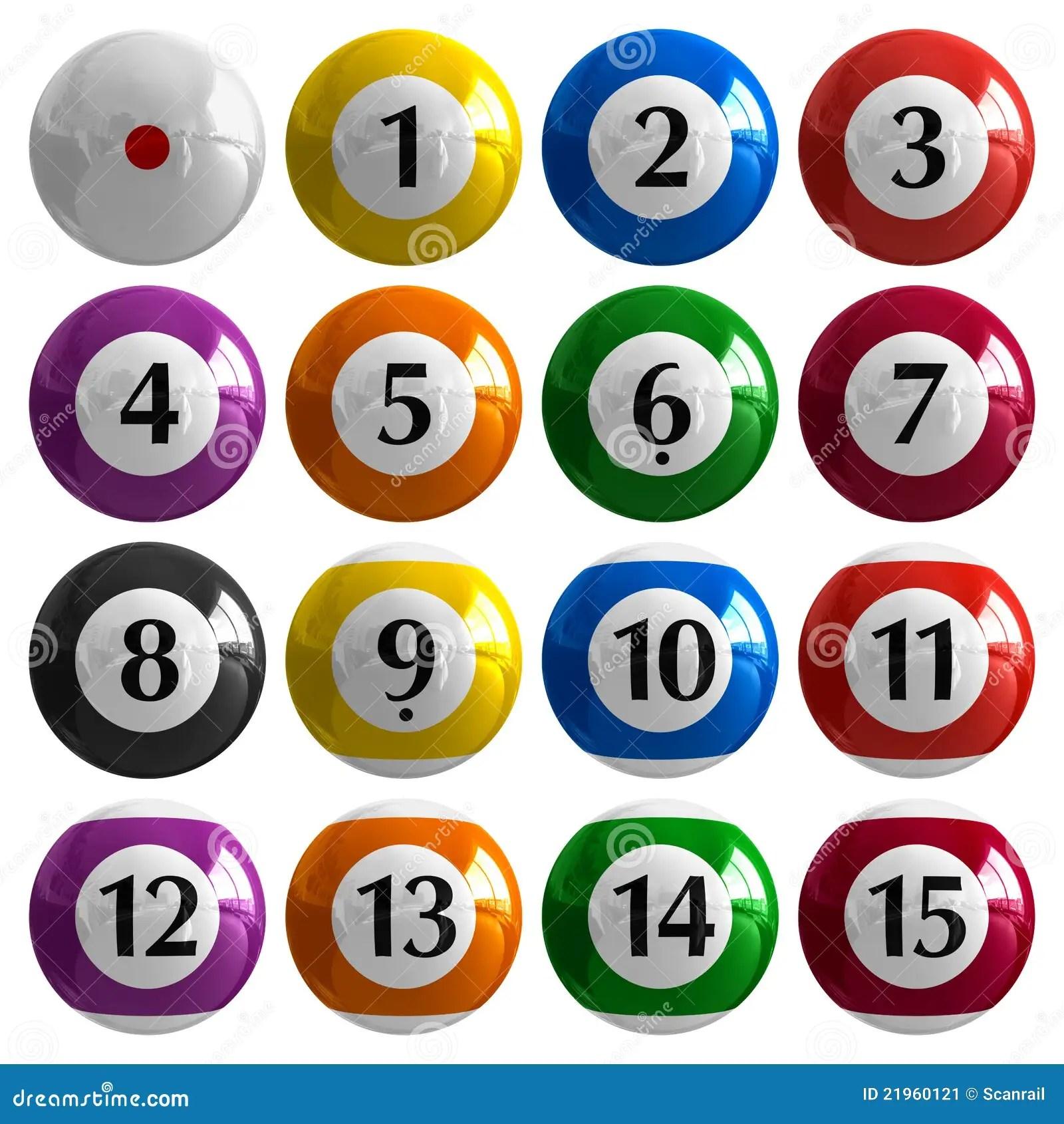 set of color american billiard balls stock image image 21960121