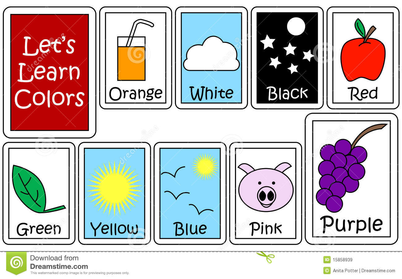 Set Of Color Flashcards Stock Vector Illustration Of
