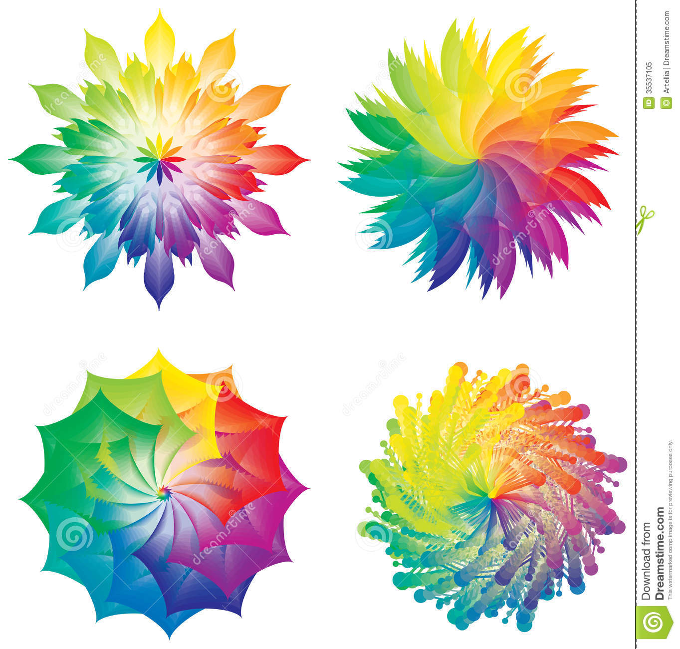 set of color wheels circles flowers rainbow colors royalty