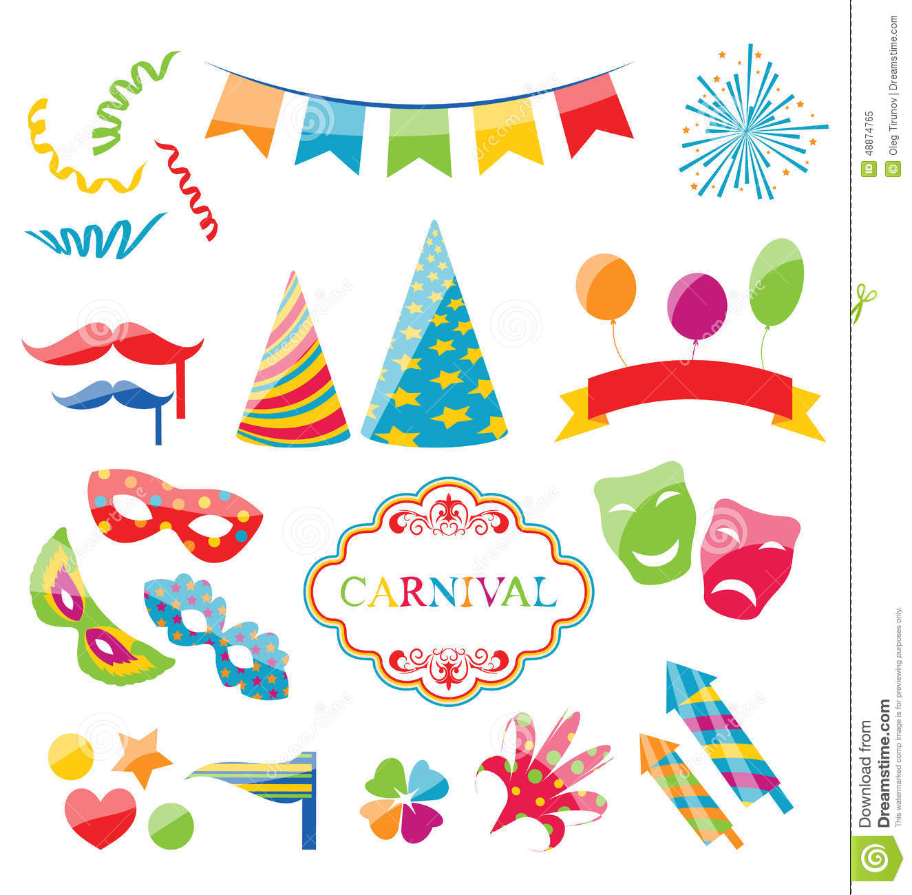 Set Colorful Objects Of Carnival Party Birthday Stock