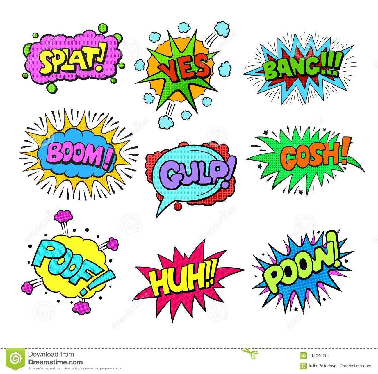 Set Of Pop Art Style Colorful Comic Exclamations Stock
