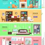 Set Of Colorful Vector Interior Design House Rooms With