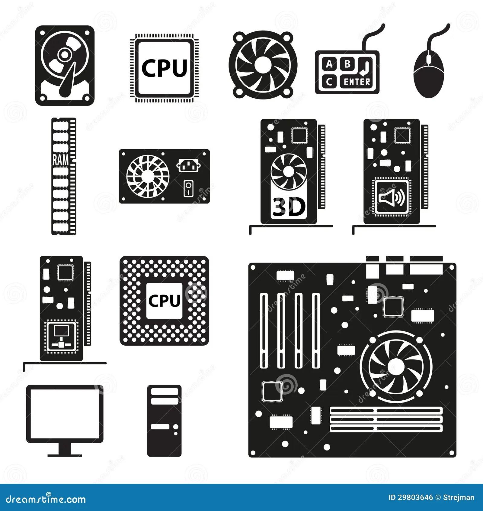 Set Of Computer Hardware Icons Royalty Free Stock Image