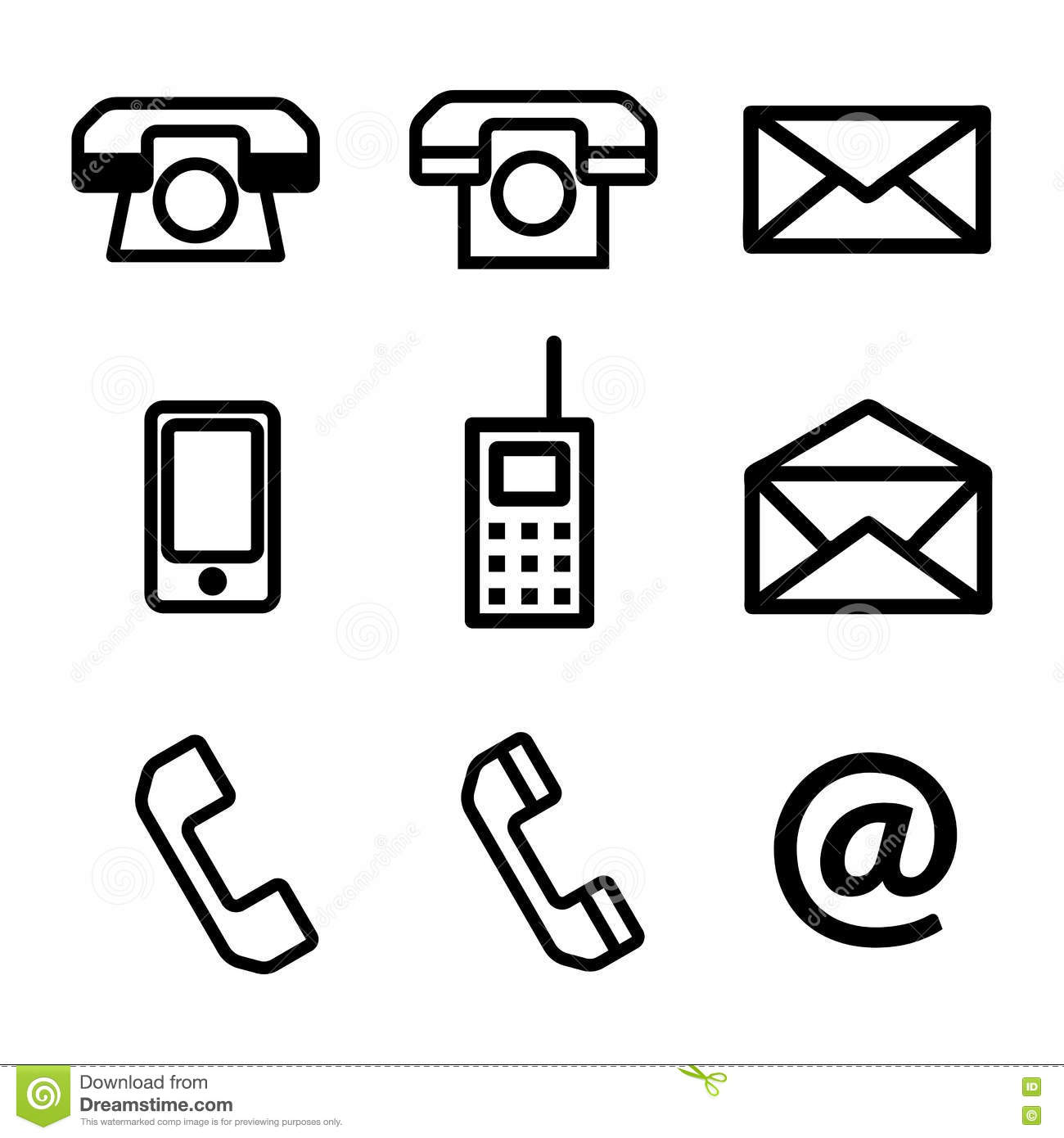 A Set Of Contact Us Vector Icons Stock Vector