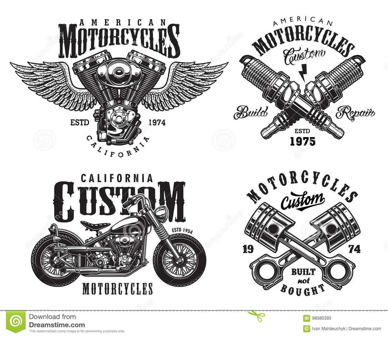 Set Of Custom Motorcycle Emblems Stock Vector