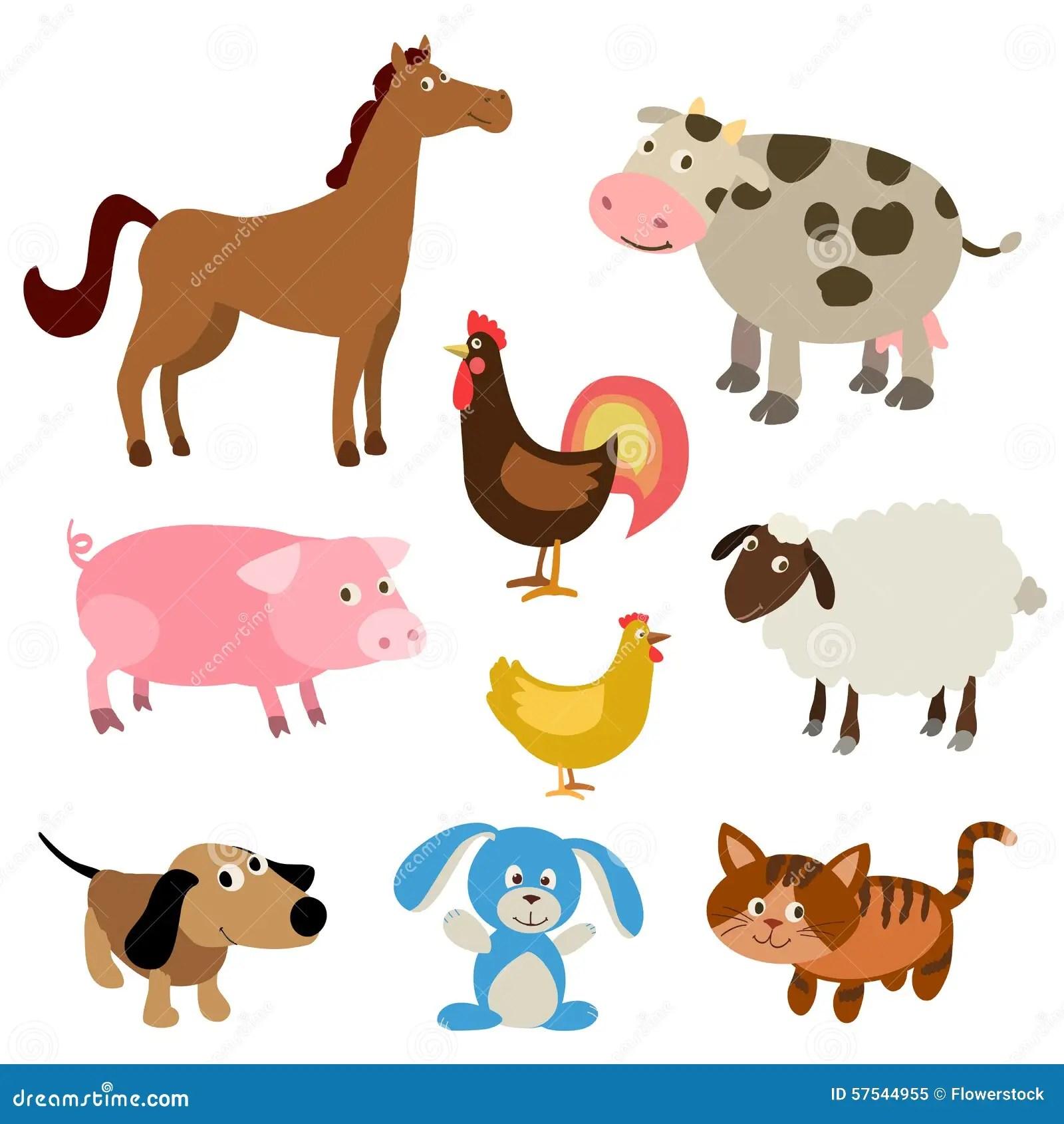 Set Of Cute Cartoon Farm Animals Stock Vector