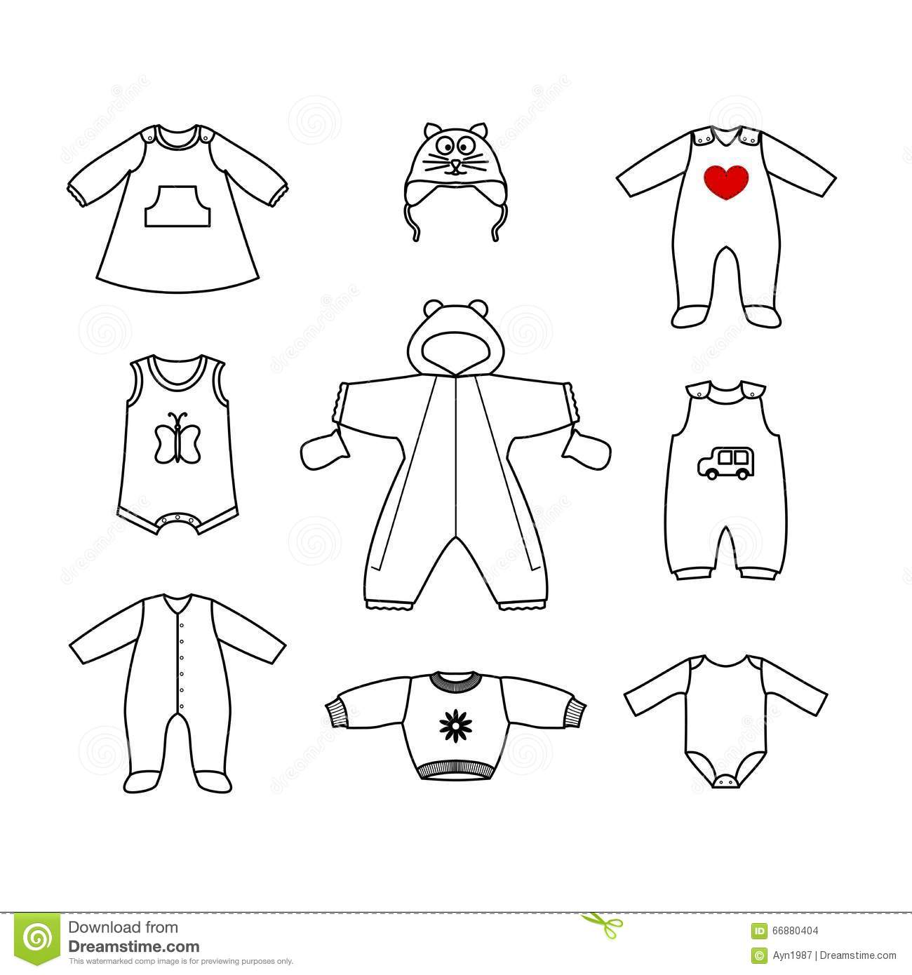 Set Of Cute Clothes For The Little Baby Collection Of