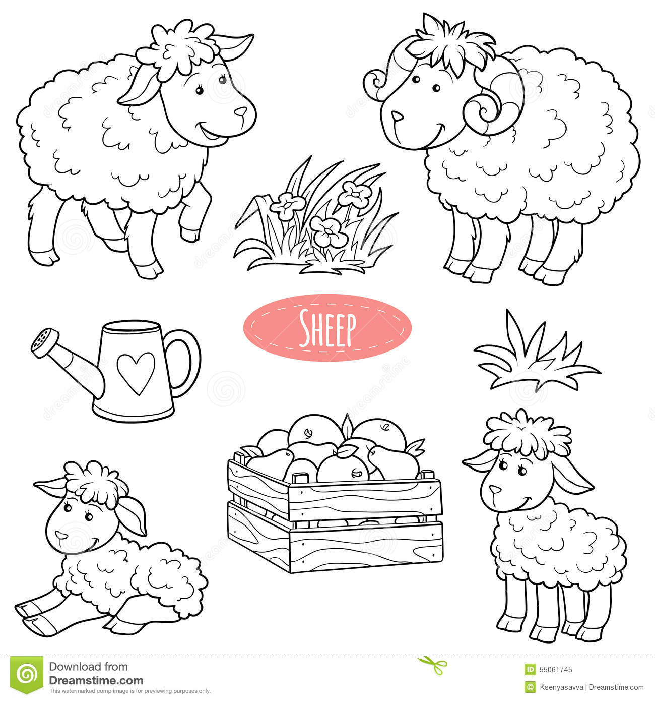 Set Of Cute Farm Animals And Objects Vector Family Sheep
