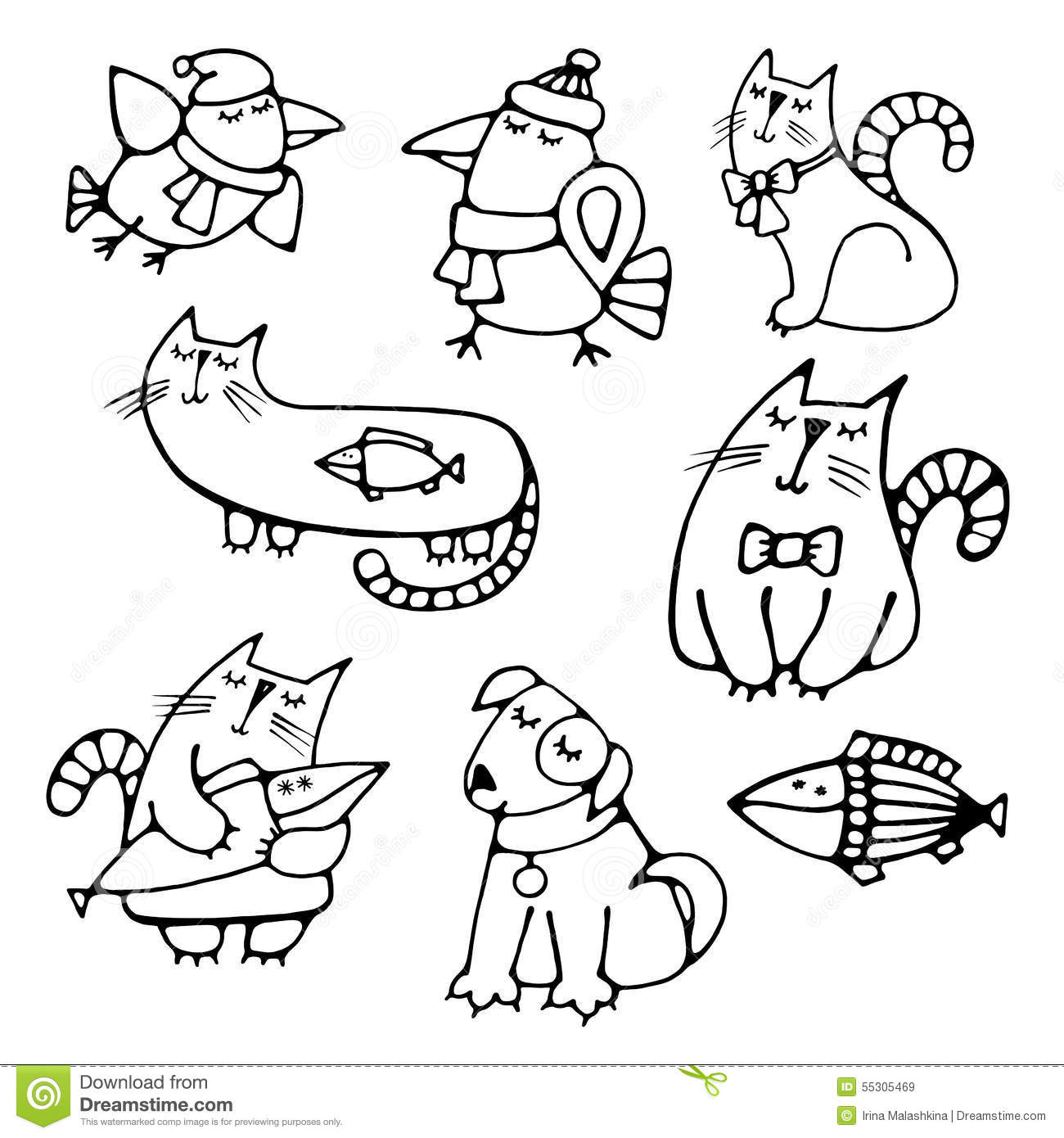 Set Of Cute Hand Drawn Contour Animals Pets Stock Vector