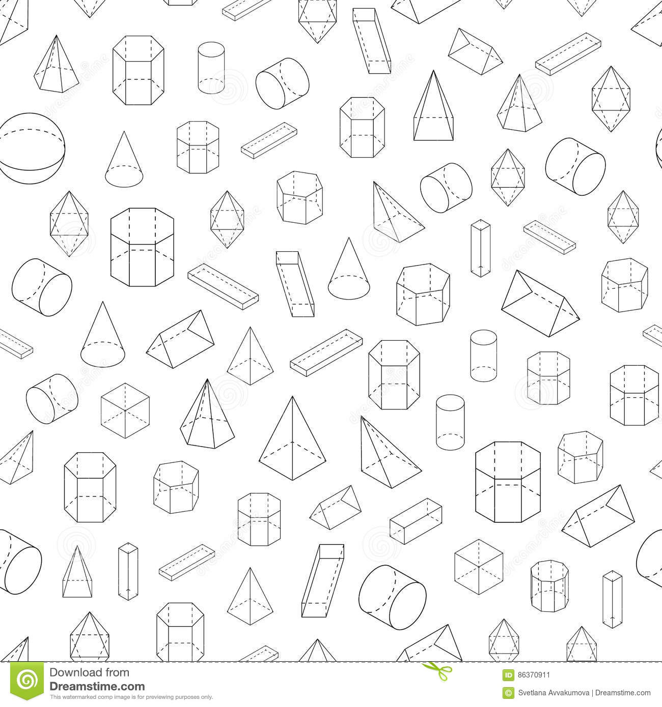 Set Of 3d Geometric Shapes Seamless Pattern Stock Vector