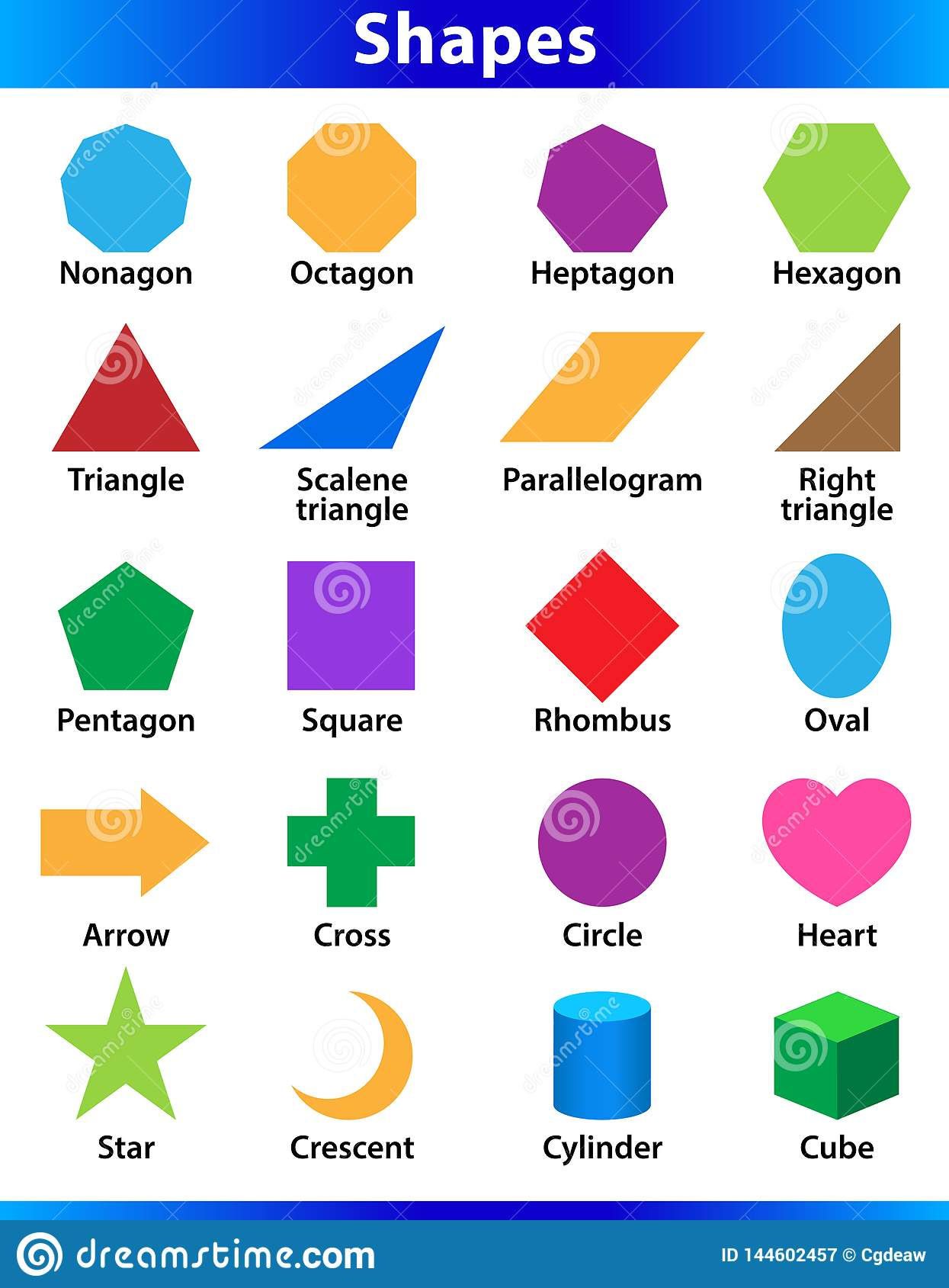 Set Of 2d Shapes Vocabulary In English With Their Name