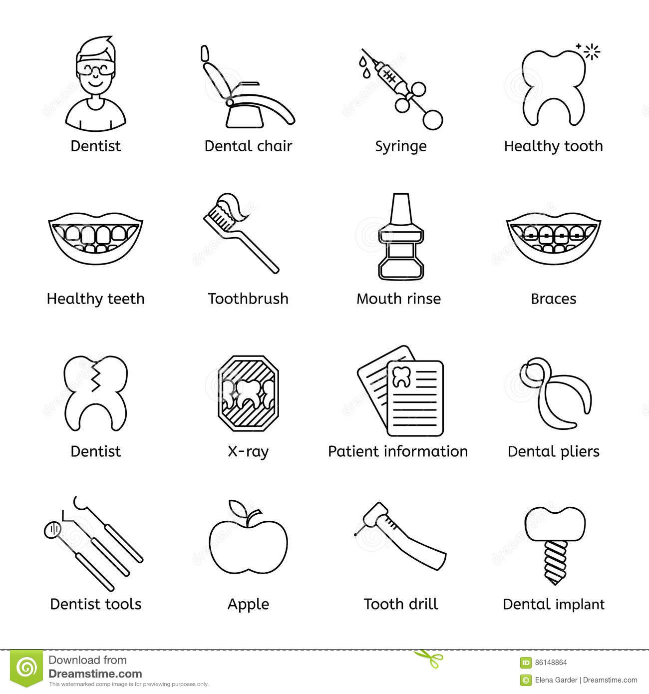 Teeth Icons Set Simple Style Cartoon Vector