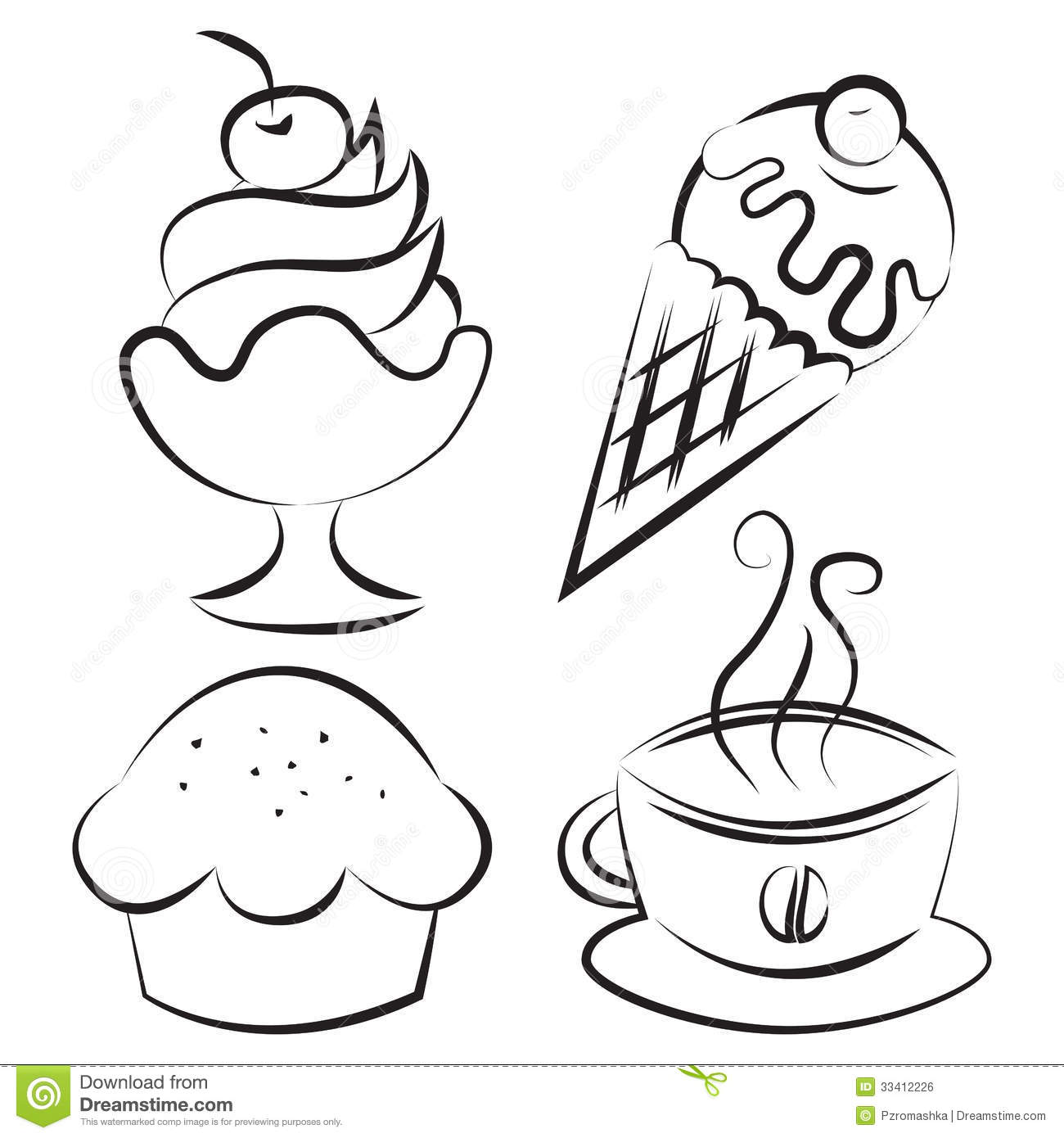 Set Desserts And Coffee Vector Illustration Stock Vector