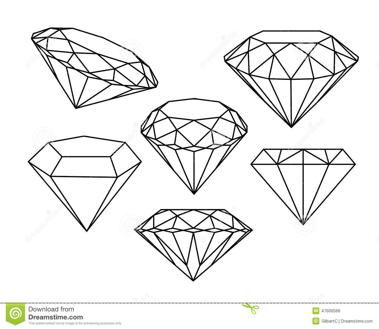 Set Of Diamonds Icons Stock Vector Illustration Of
