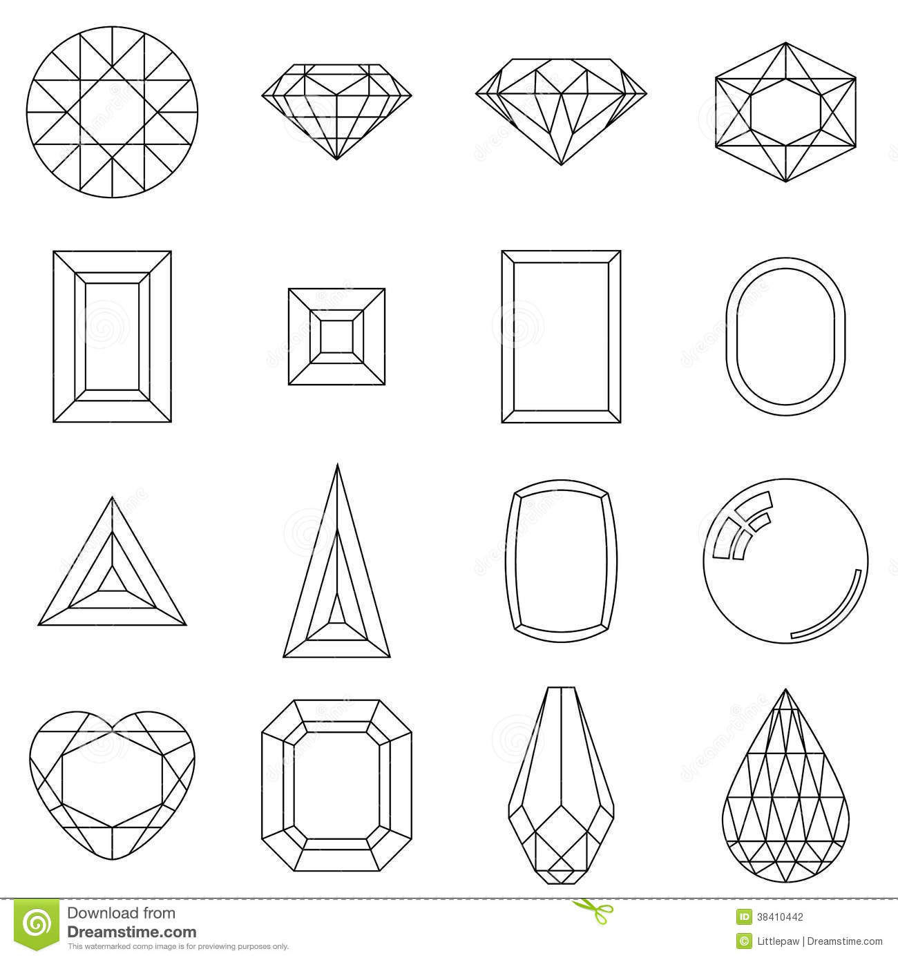 Set Of Different Cuts Of Gem Stones Stock Vector