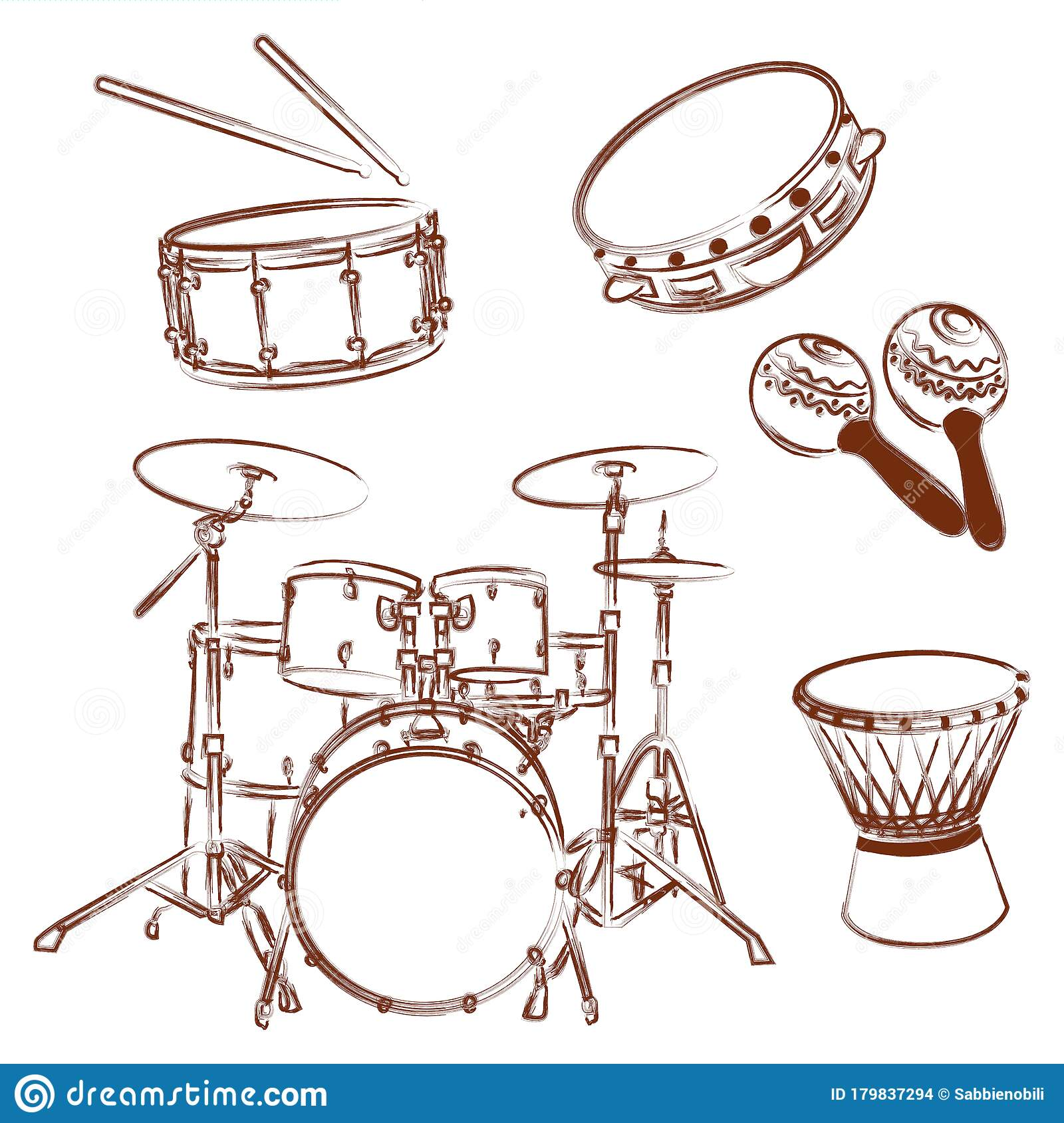 Percussion Instruments Collection Outline Illustration