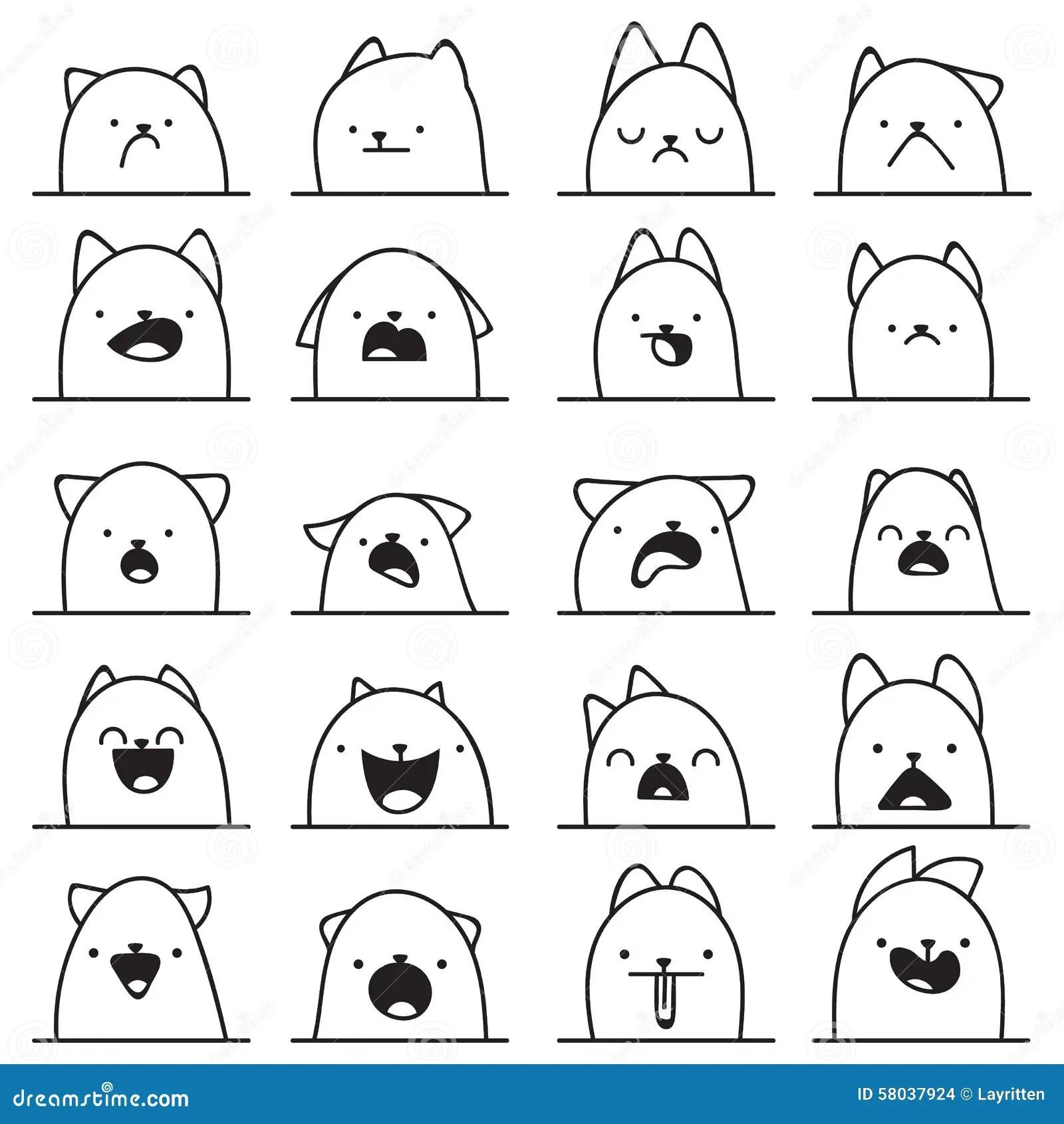 Set Of 20 Different Emotions Cat Anime Doodle Design