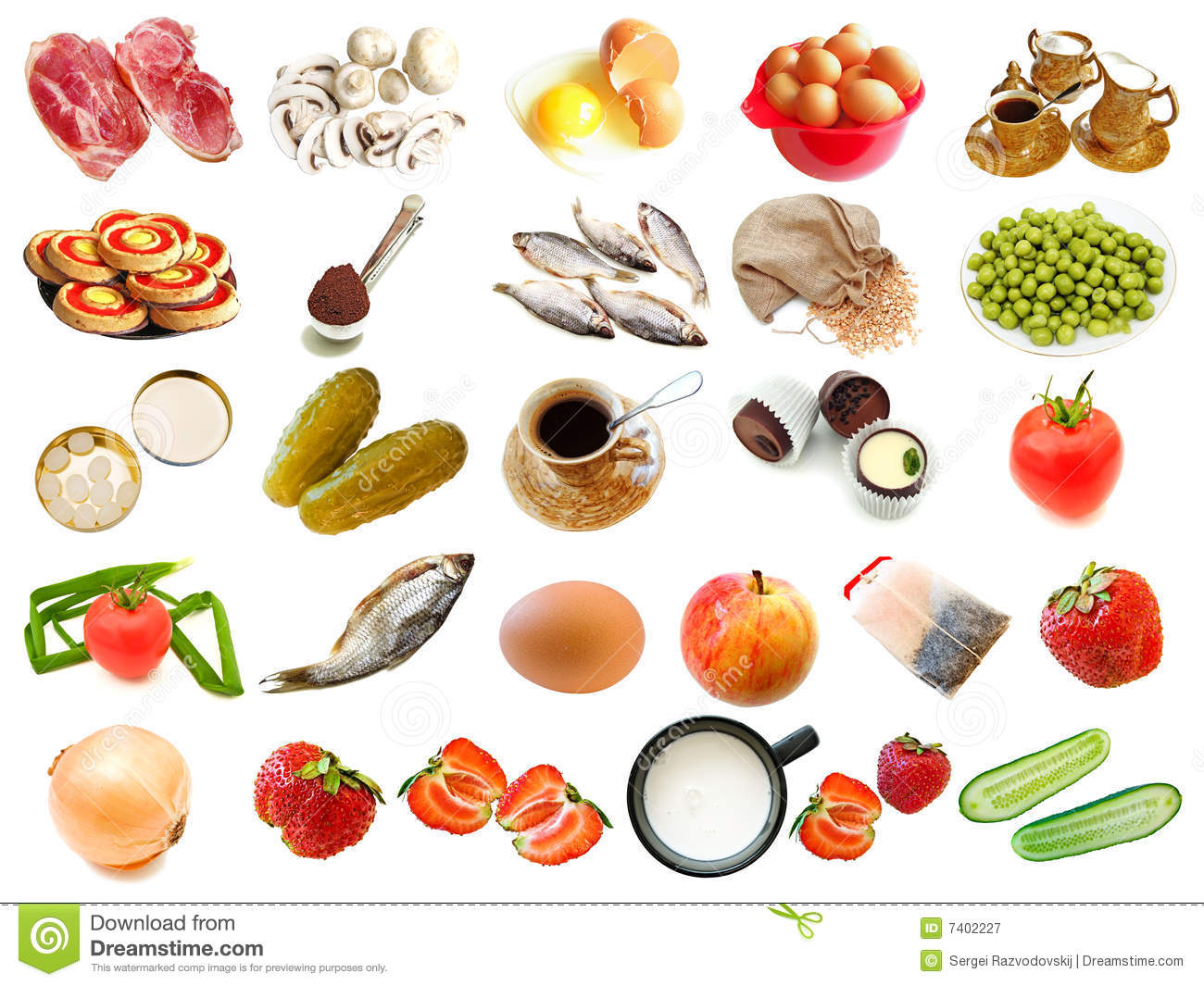 Set From Different Food And Drinks Items Royalty Free