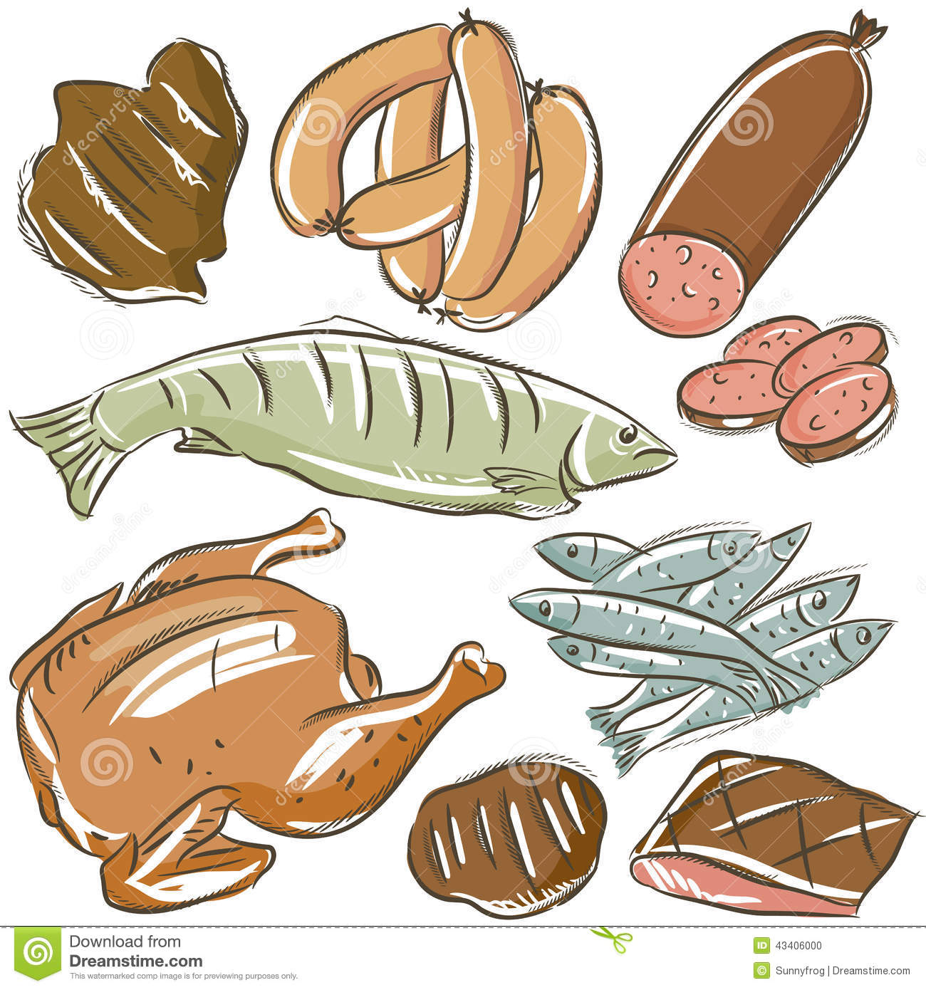 Set Of Different Meats Stock Vector Illustration Of Scrap