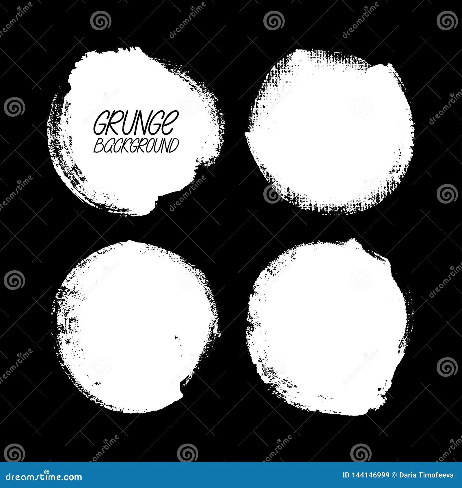 Set Of Round Brush Strokes Stock Vector Illustration Of