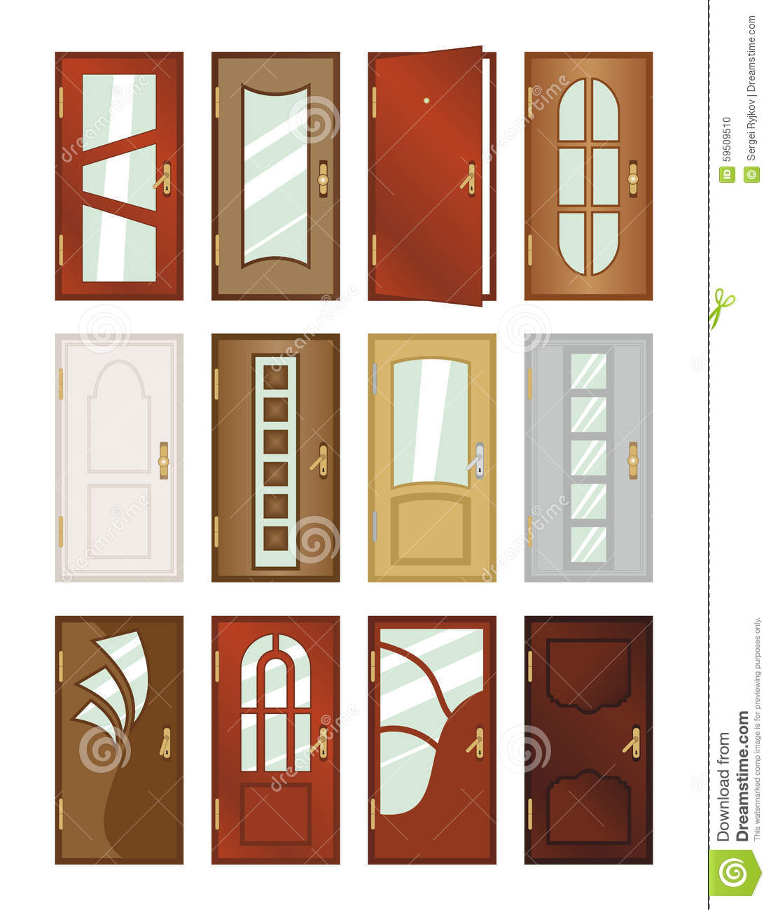 Set Of Different Types Of Doors Illustration 59509510 Megapixl