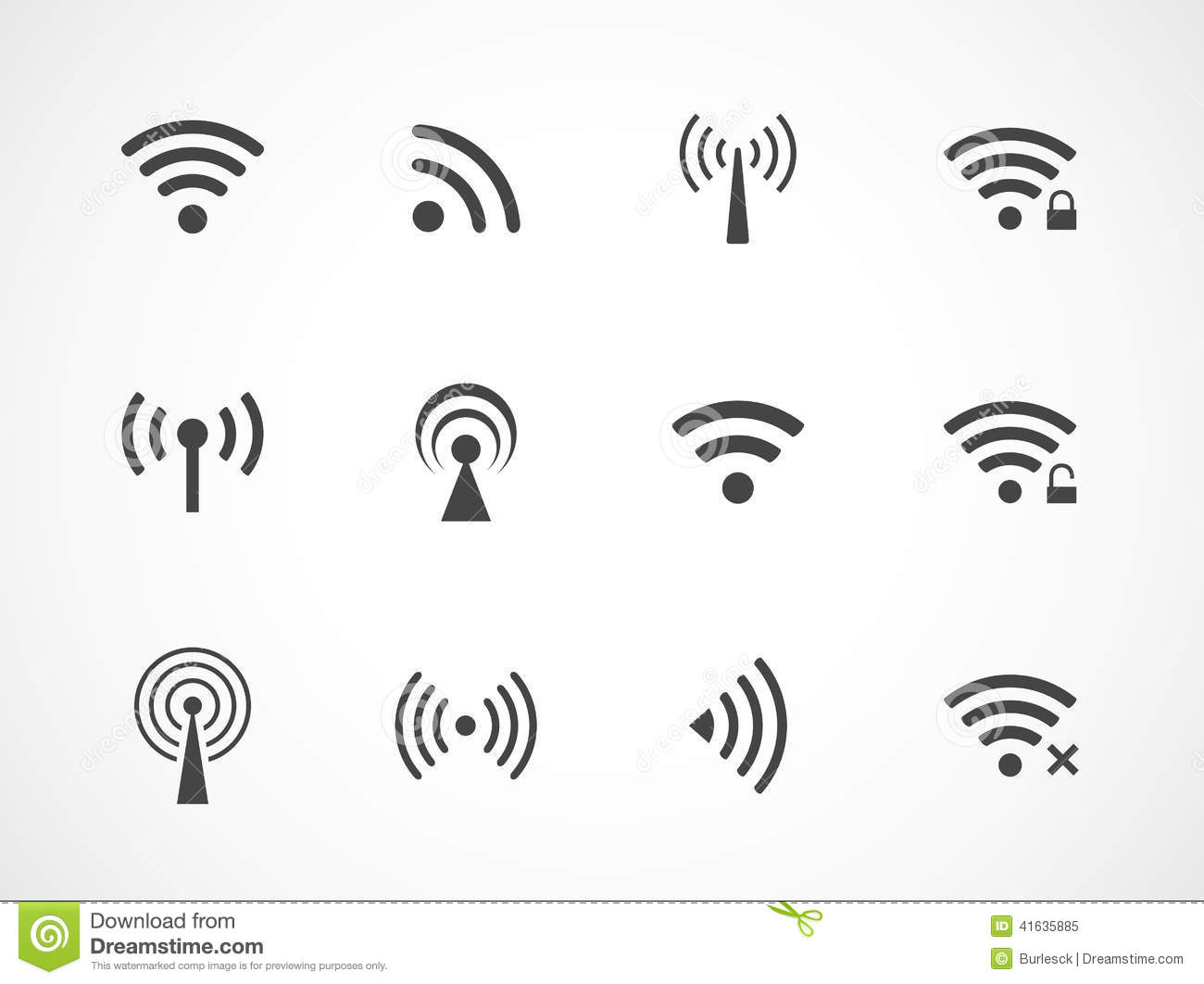 Set Of Different Wireless And Wifi Icons Stock Vector