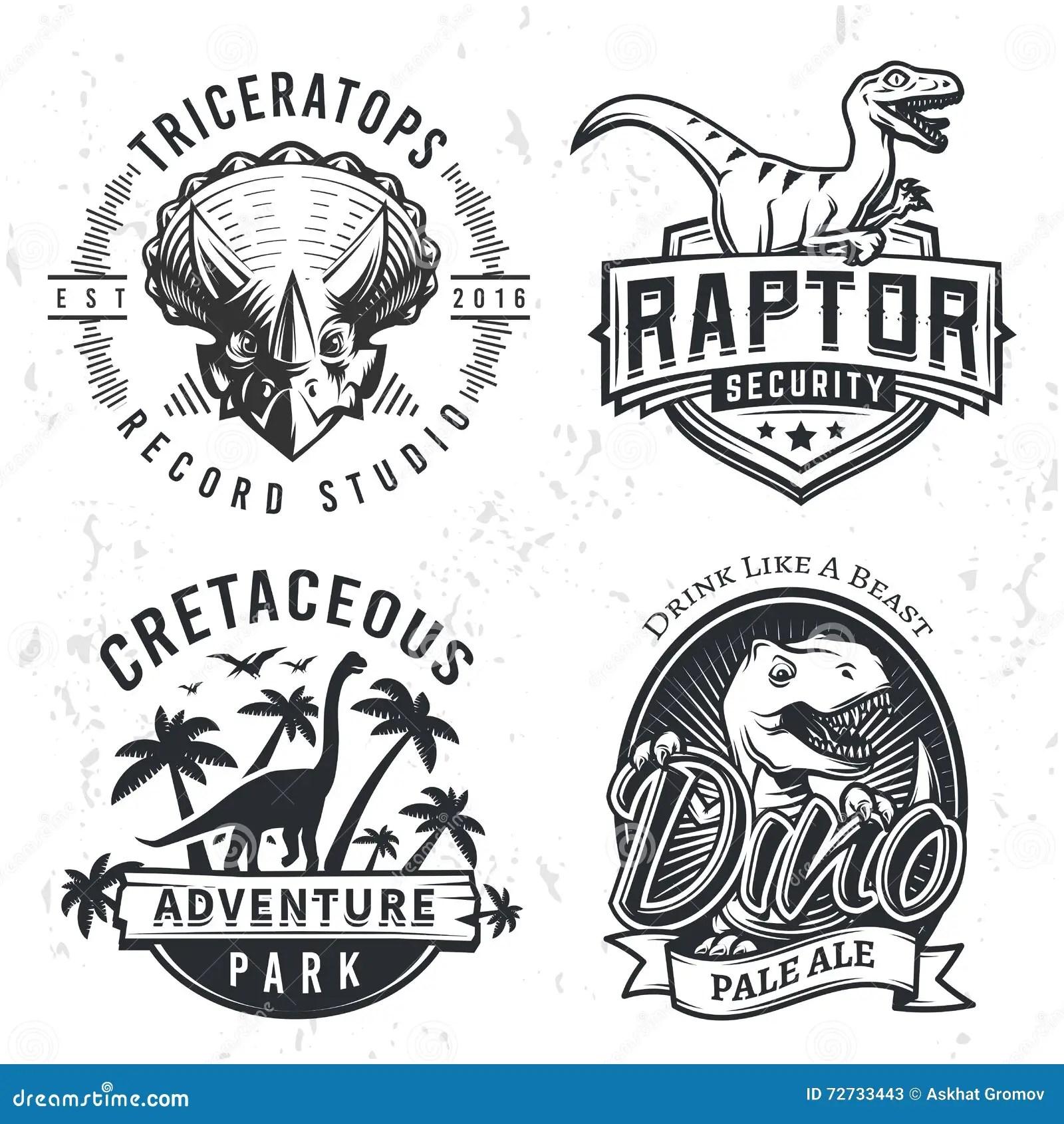 set of dino logos raptor t shirt illustration concept on