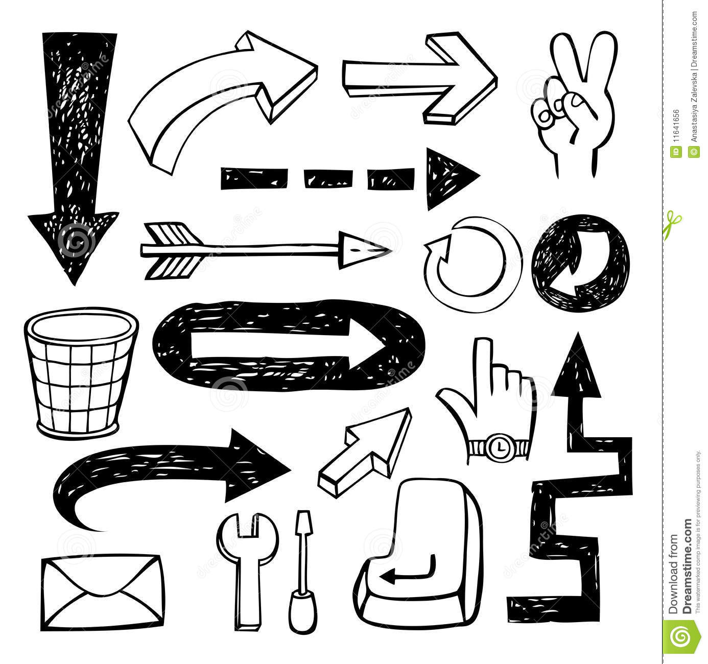 Set Of Doodle Arrows Stock Vector Illustration Of Down