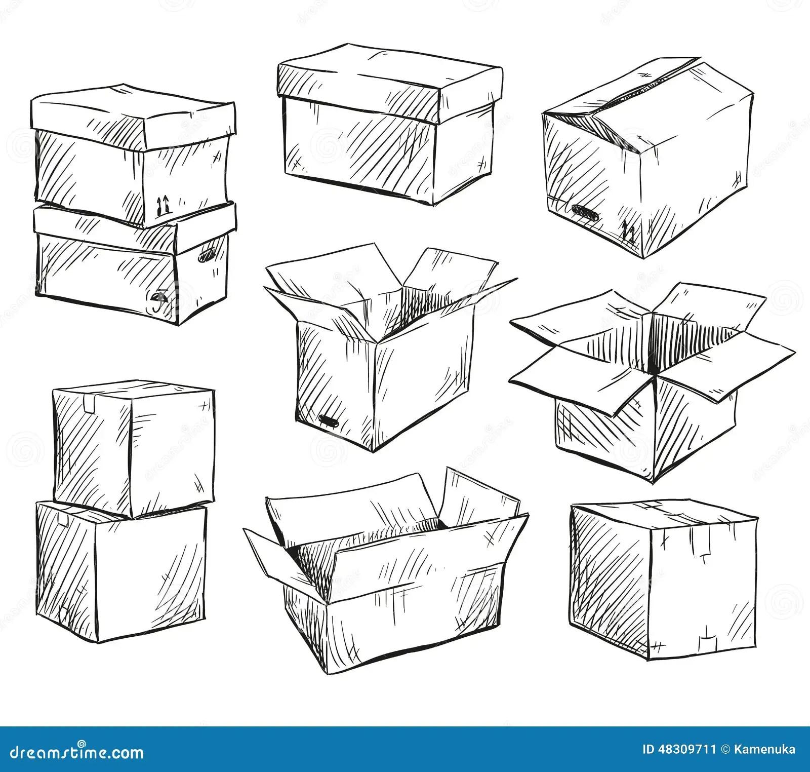 Set Of Doodle Cardboard Boxes Vector Illustration Stock
