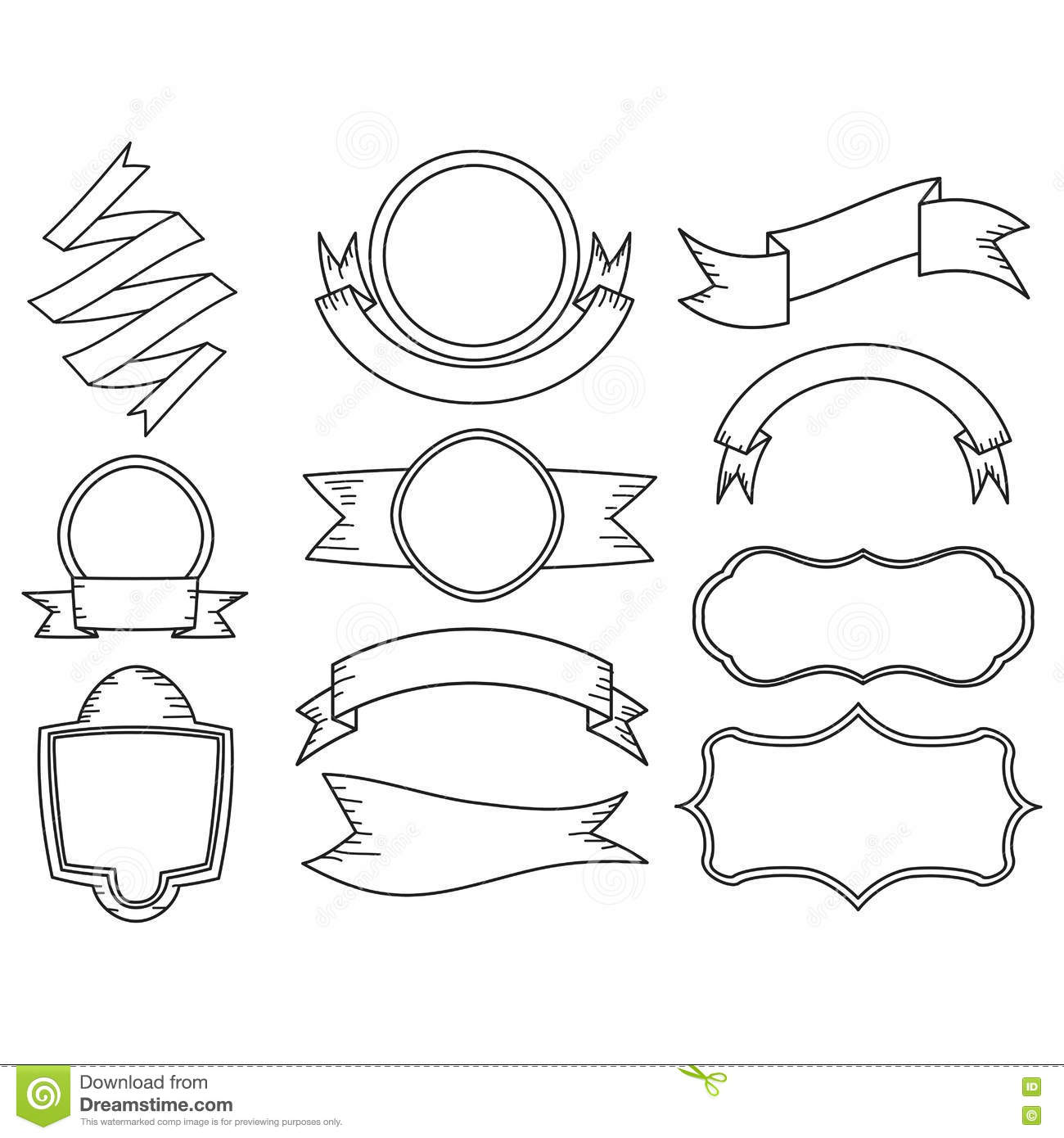 Set Of Doodle Ribbon Banner Stock Vector