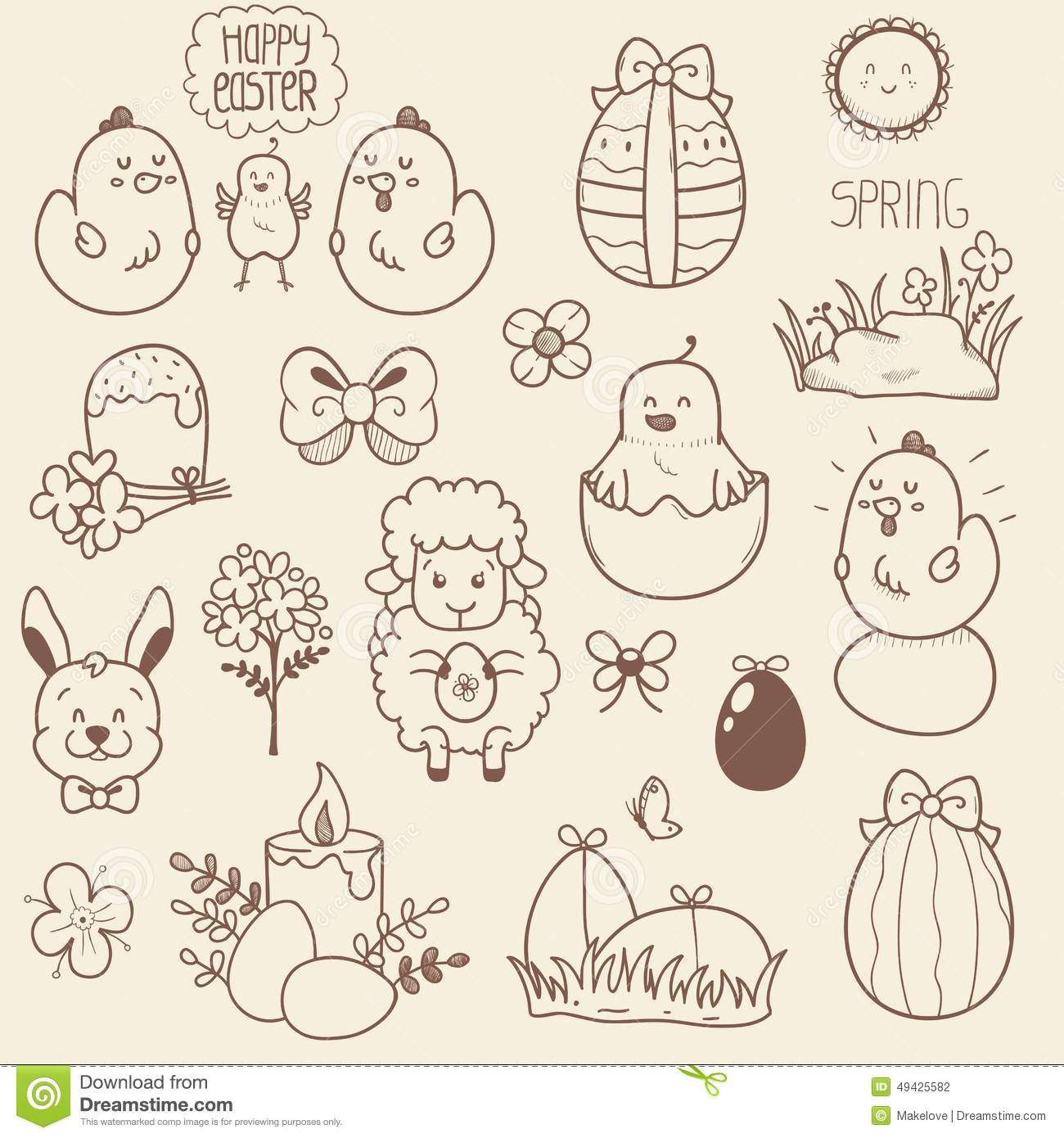 Set Of Easter Doodles Stock Vector Image 49425582