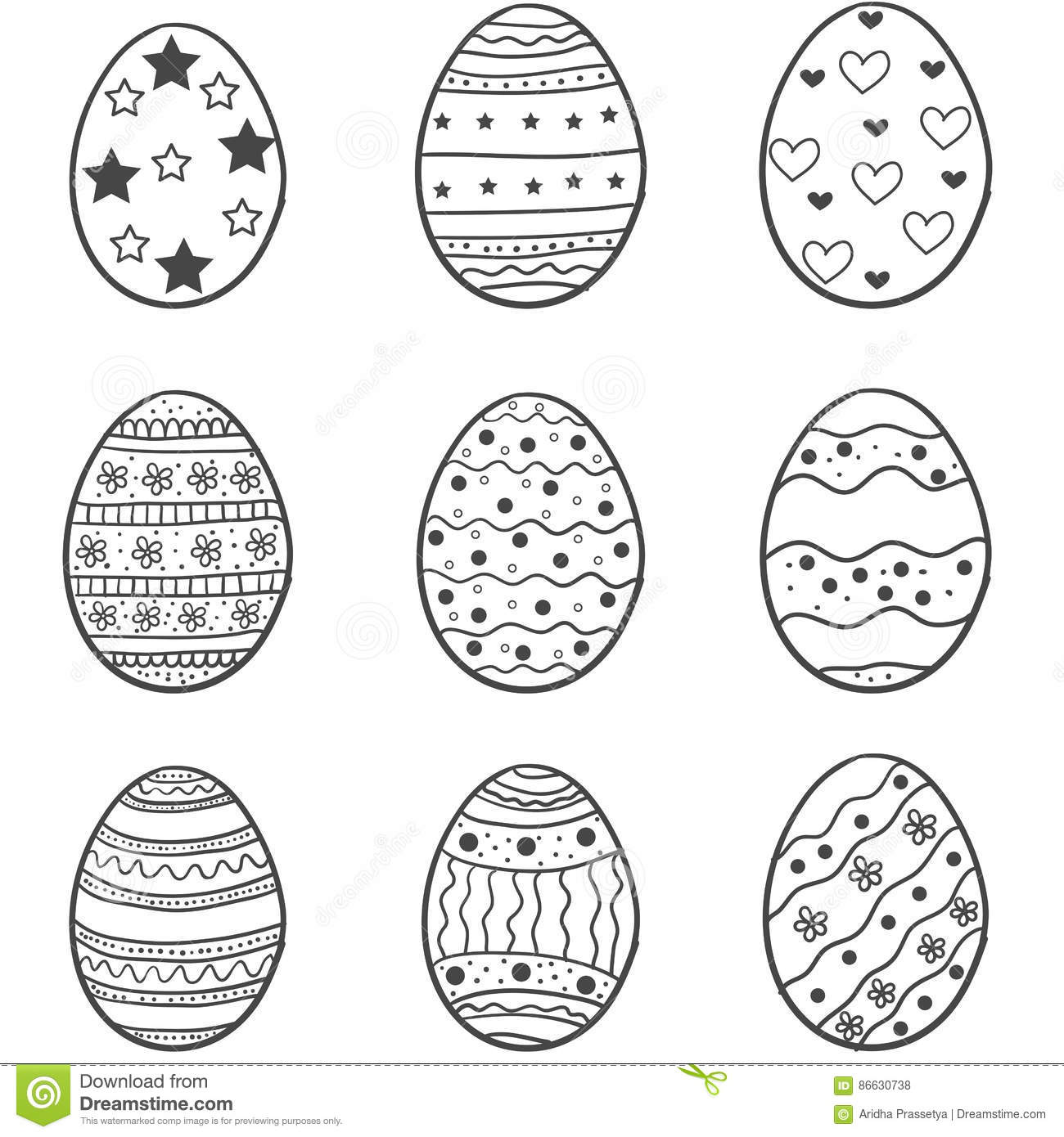 Set Of Easter Egg Doodles Stock Vector