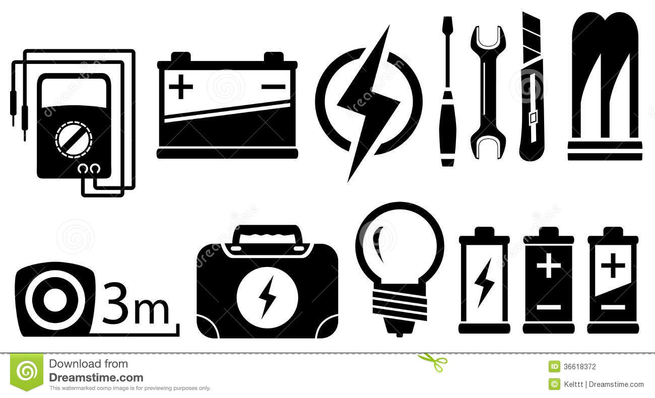 Set Electrical Objects Stock Vector Illustration Of Gauge