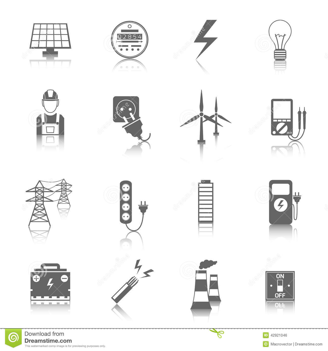 Set Of Electricity Icons Stock Vector Illustration Of