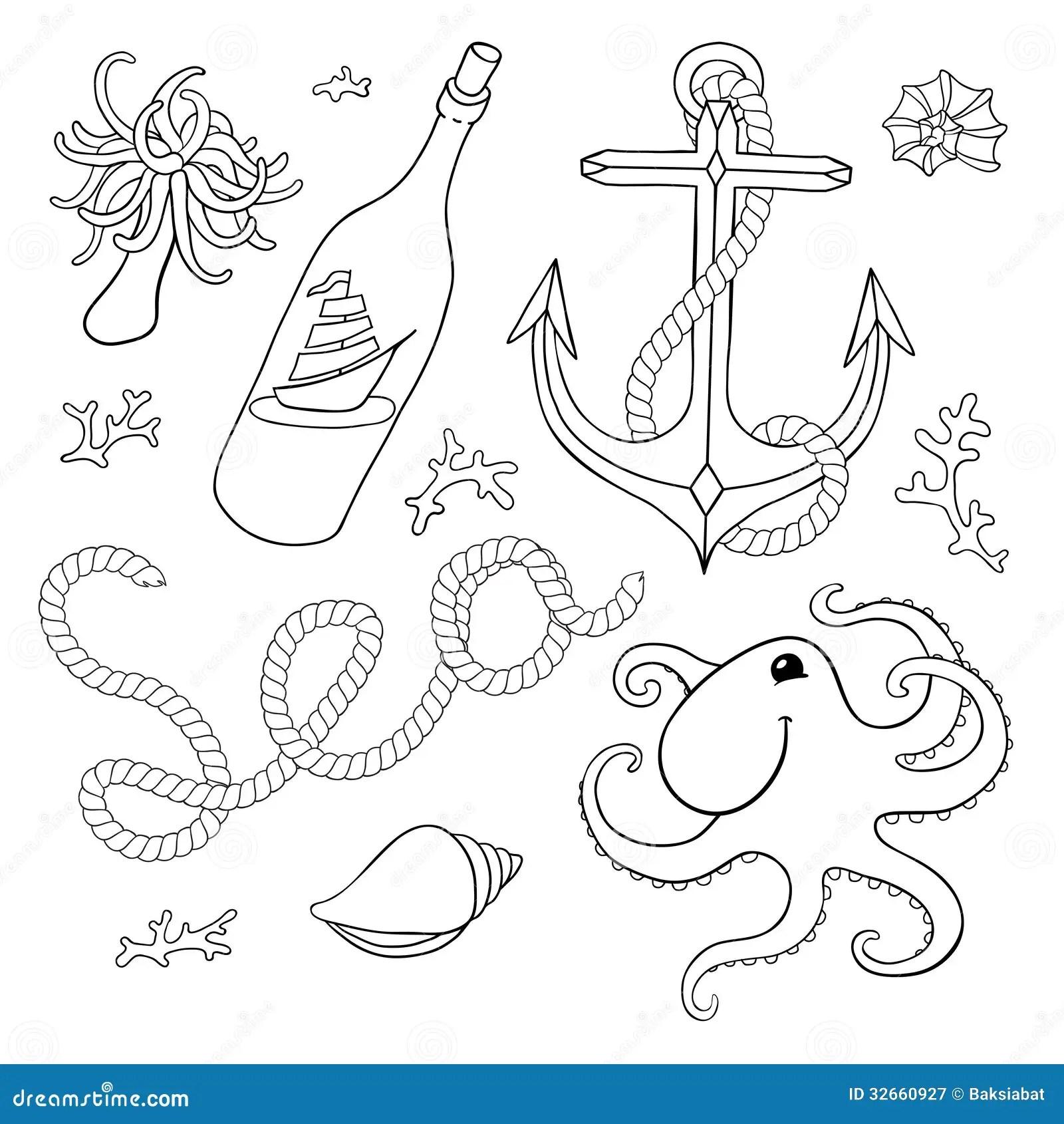 A Set Of Elements Seashells Rope Anchor Octopu Stock