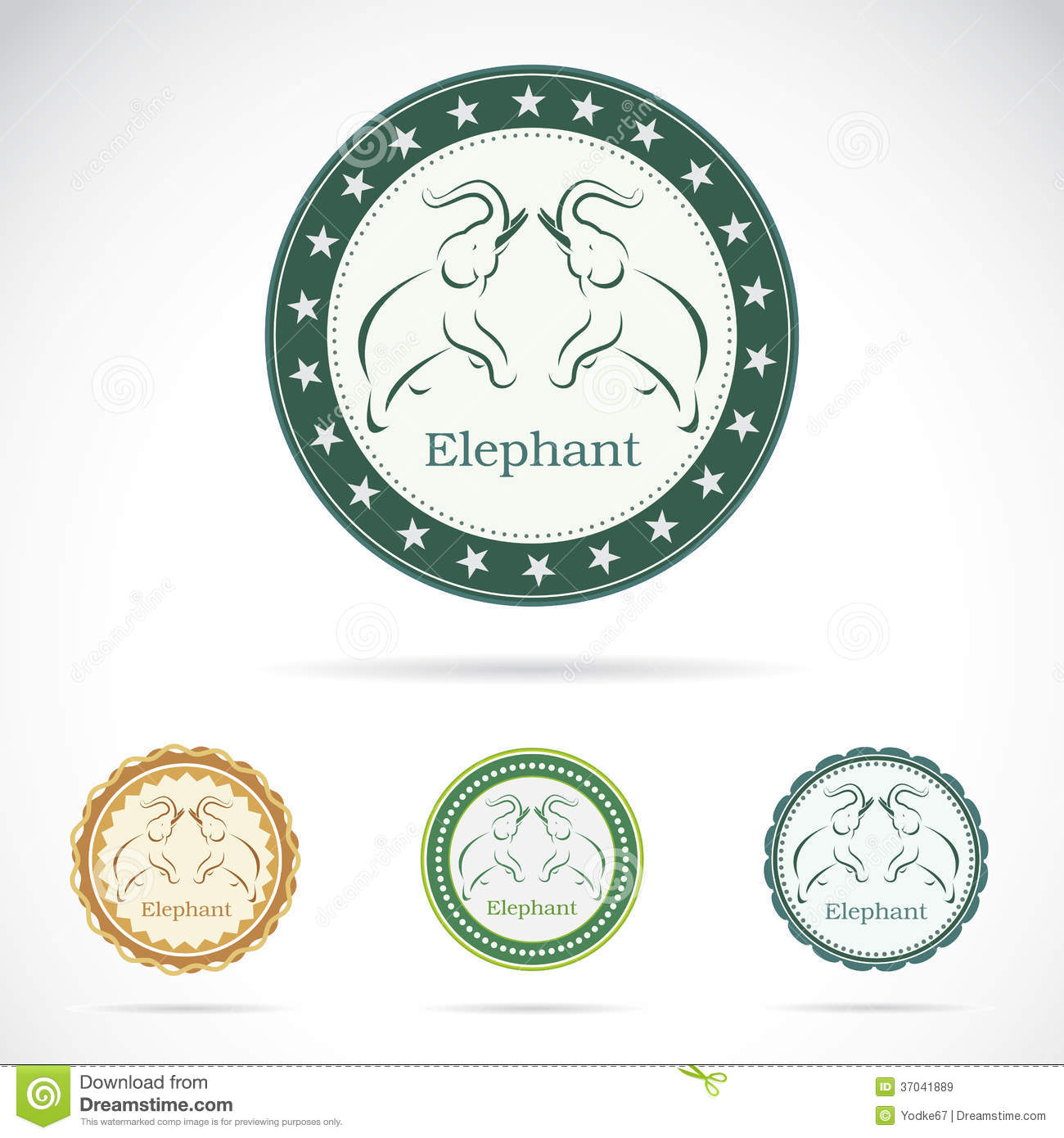 Set Of Elephant Label Royalty Free Stock Images