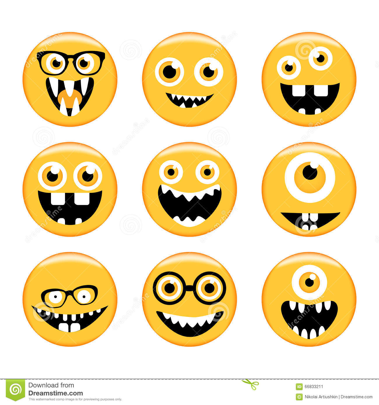 Set Of Emoticons Emoji Monster Faces In Glasses With