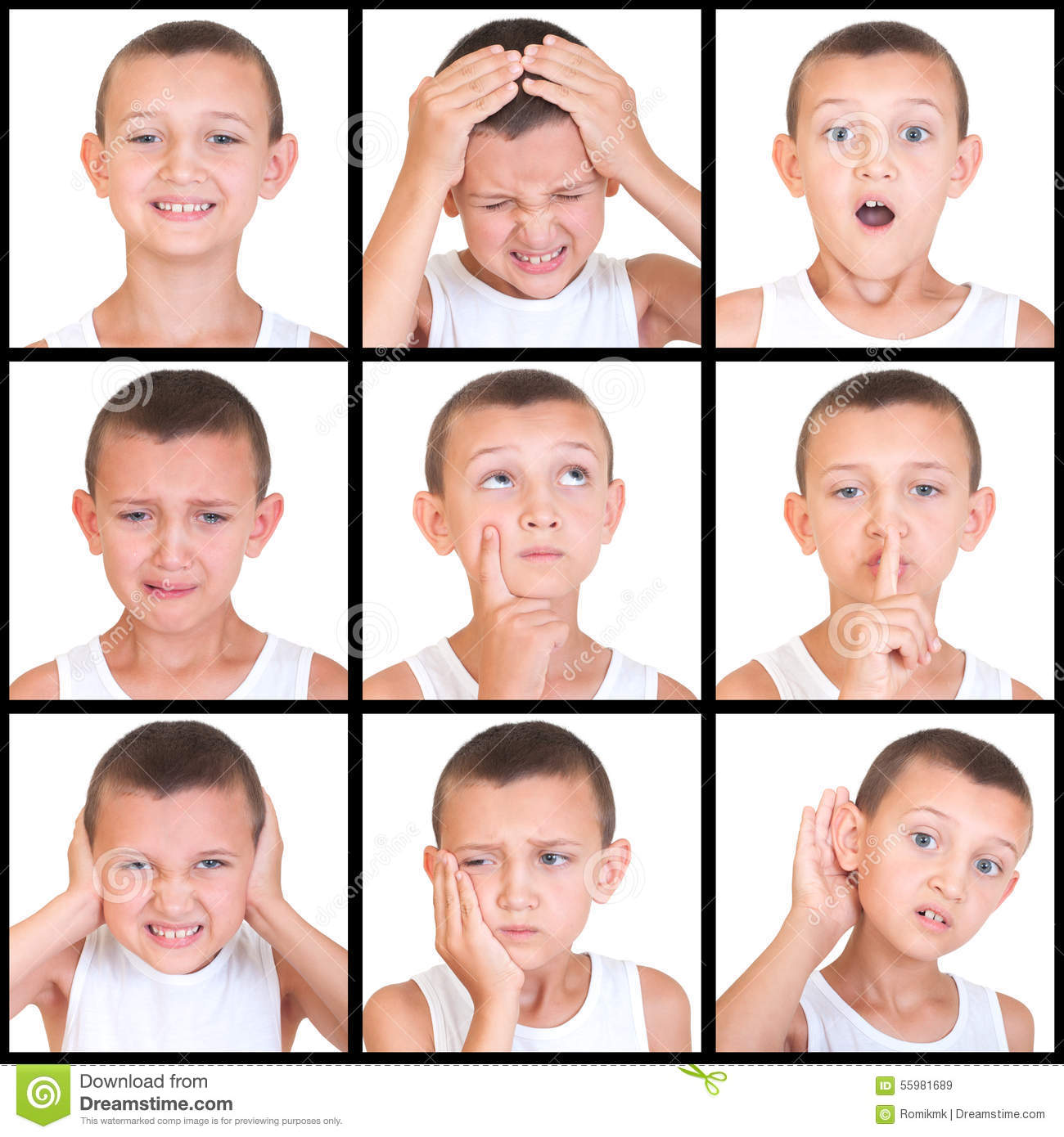Set Of Emotions Child Stock Image Image Of Pain
