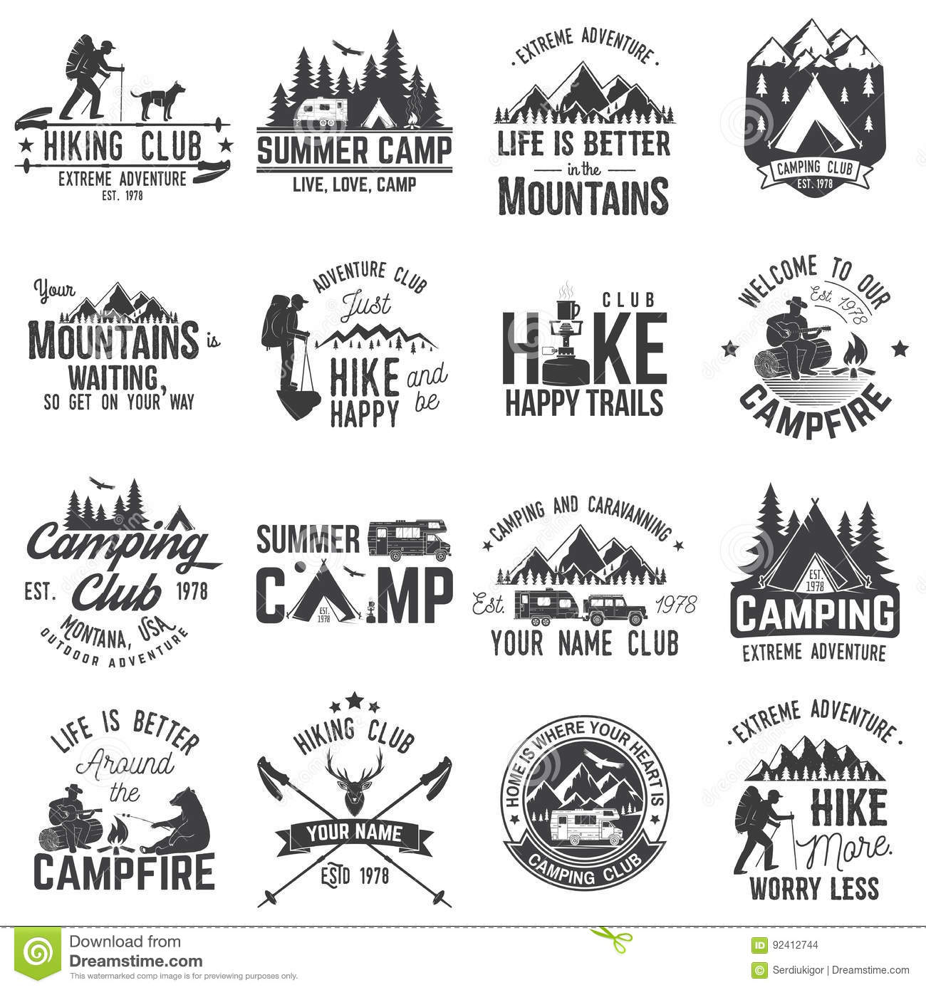 Set Of Extreme Adventure Badges Concept For Shirt Or Logo