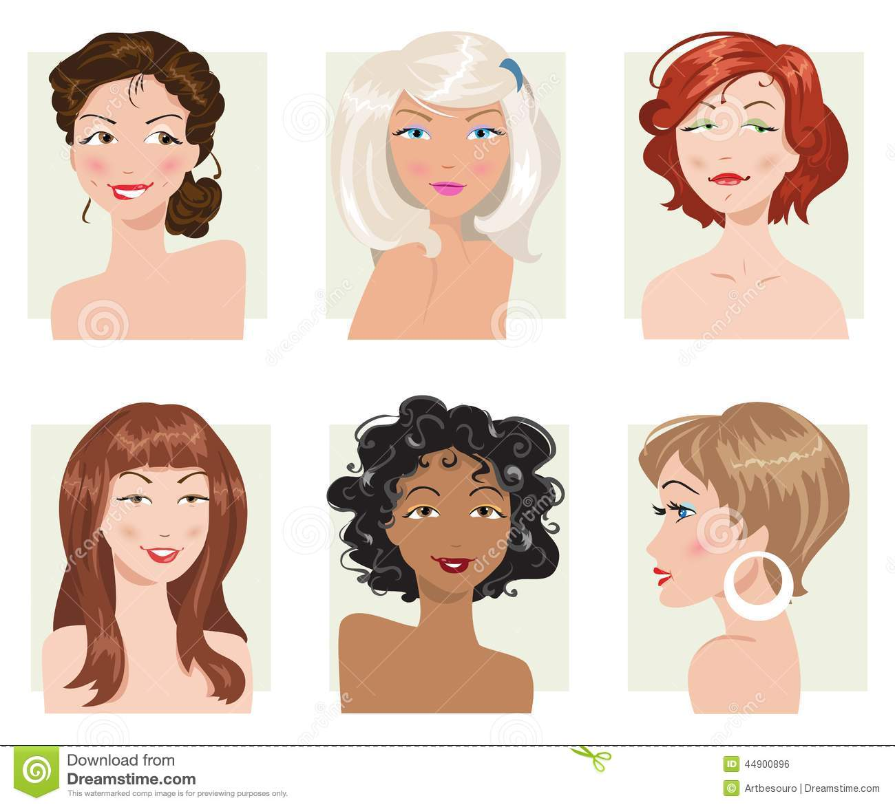 Set Of Female Hair Style Vector Collection Stock Vector