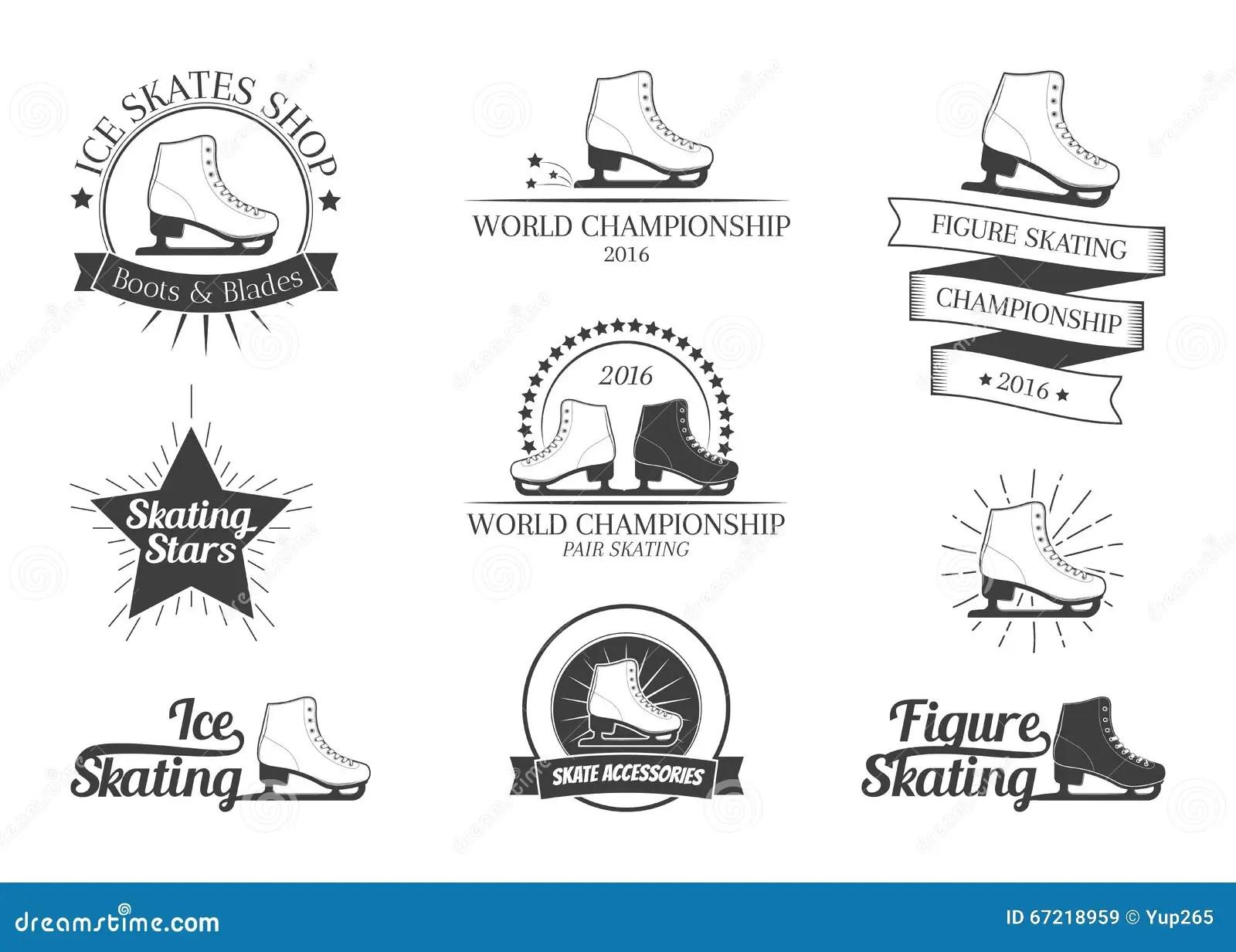 Set Of Figure Skating Logos Stock Vector