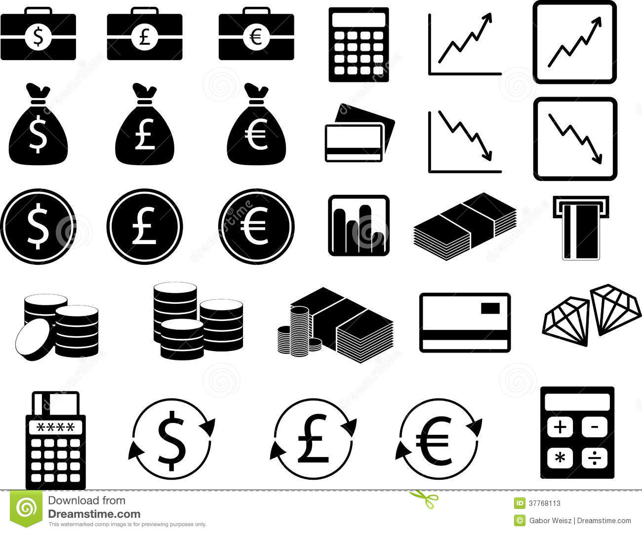 Set Of Financial Icons Stock Photos