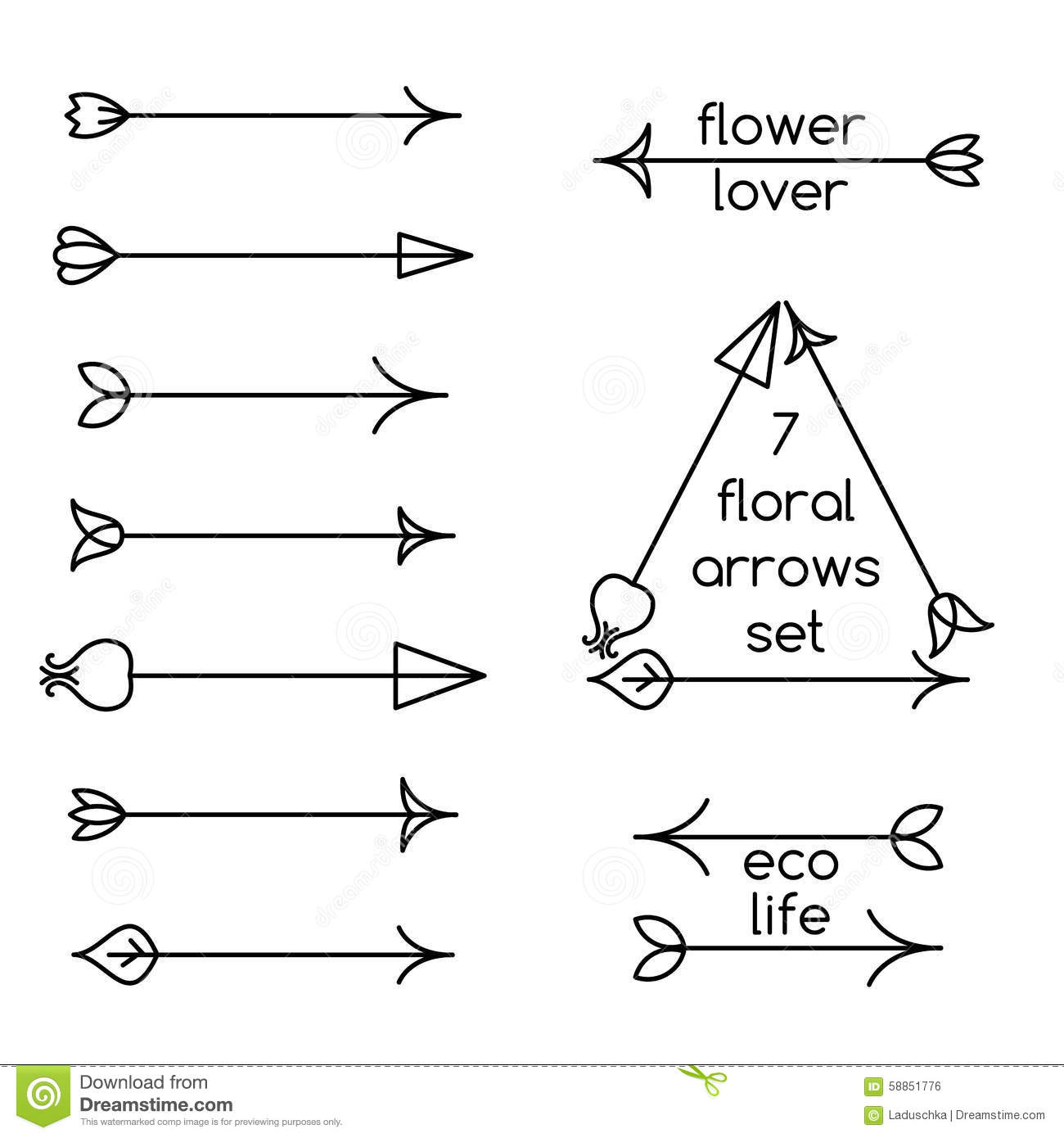 Set Of Floral Arrows Line Art And Logo Examples Stock