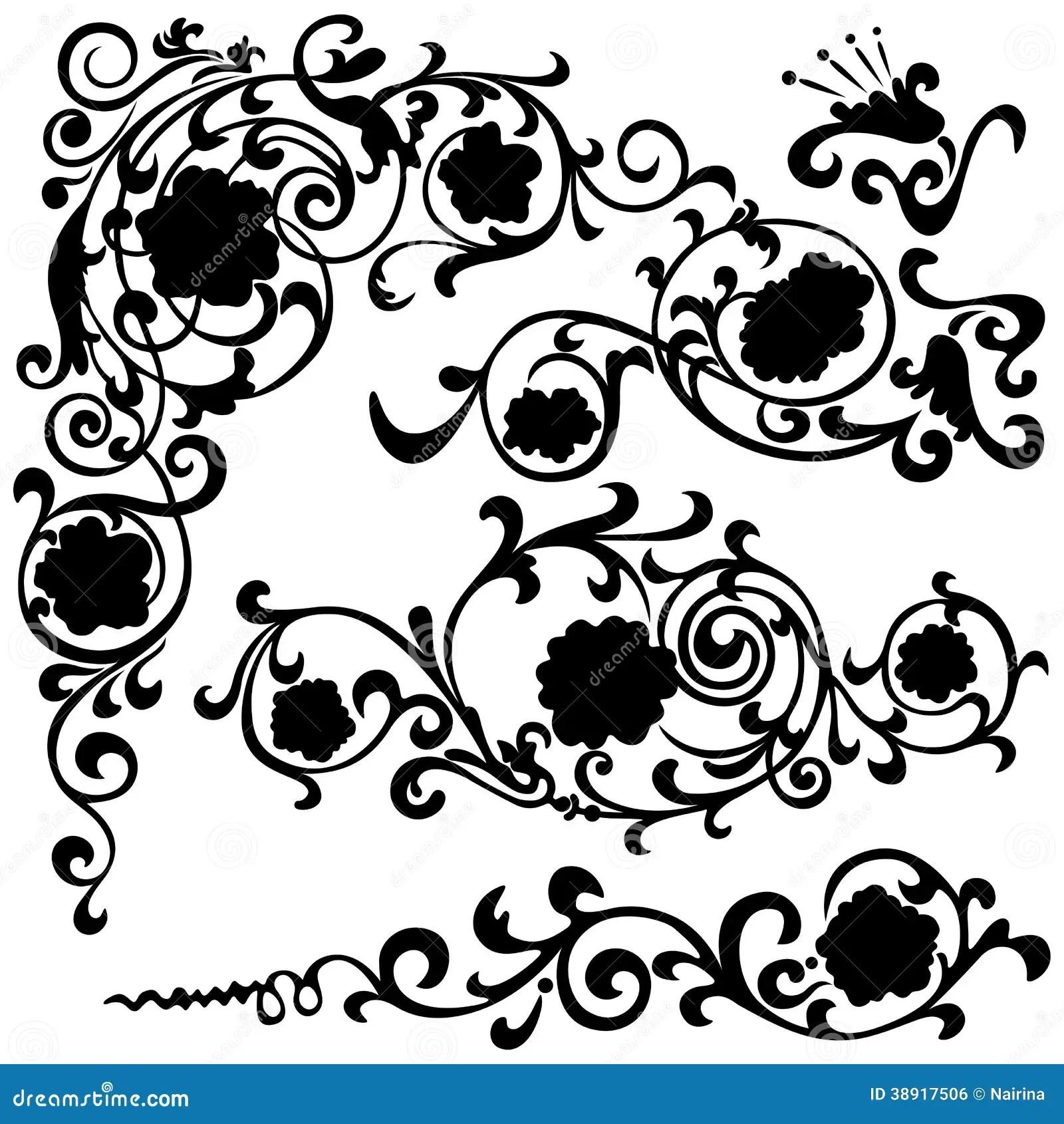 Set Floral Swirling Pattern Vector Illustration